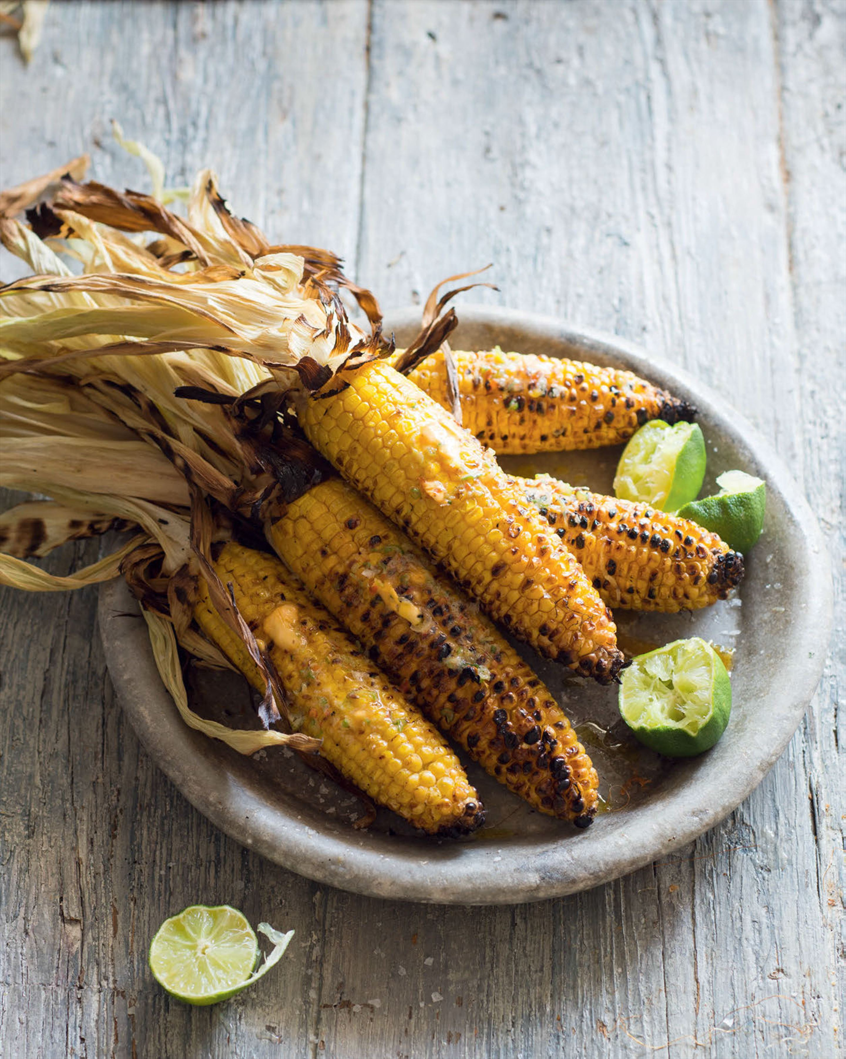 Charred corncobs with almond-saffron butter