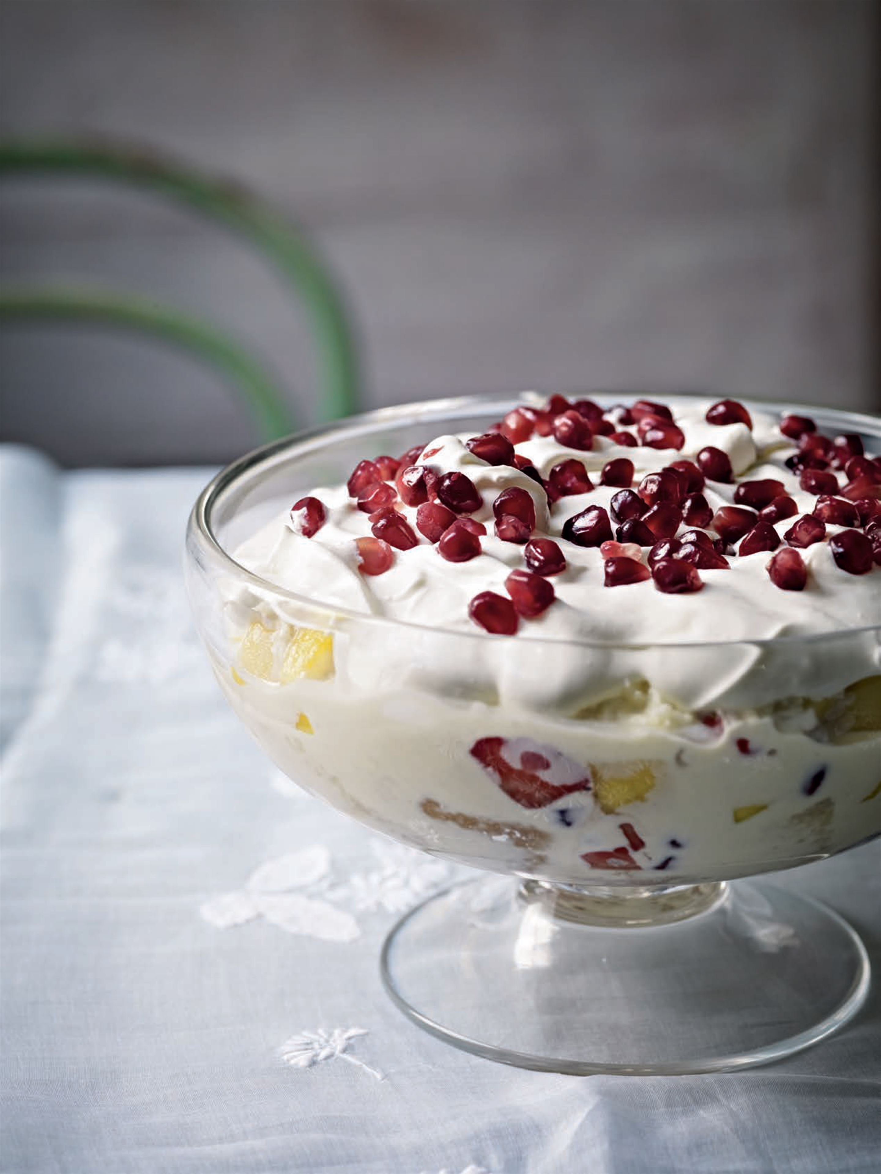 Mango, pomegranate, berry and coconut trifle
