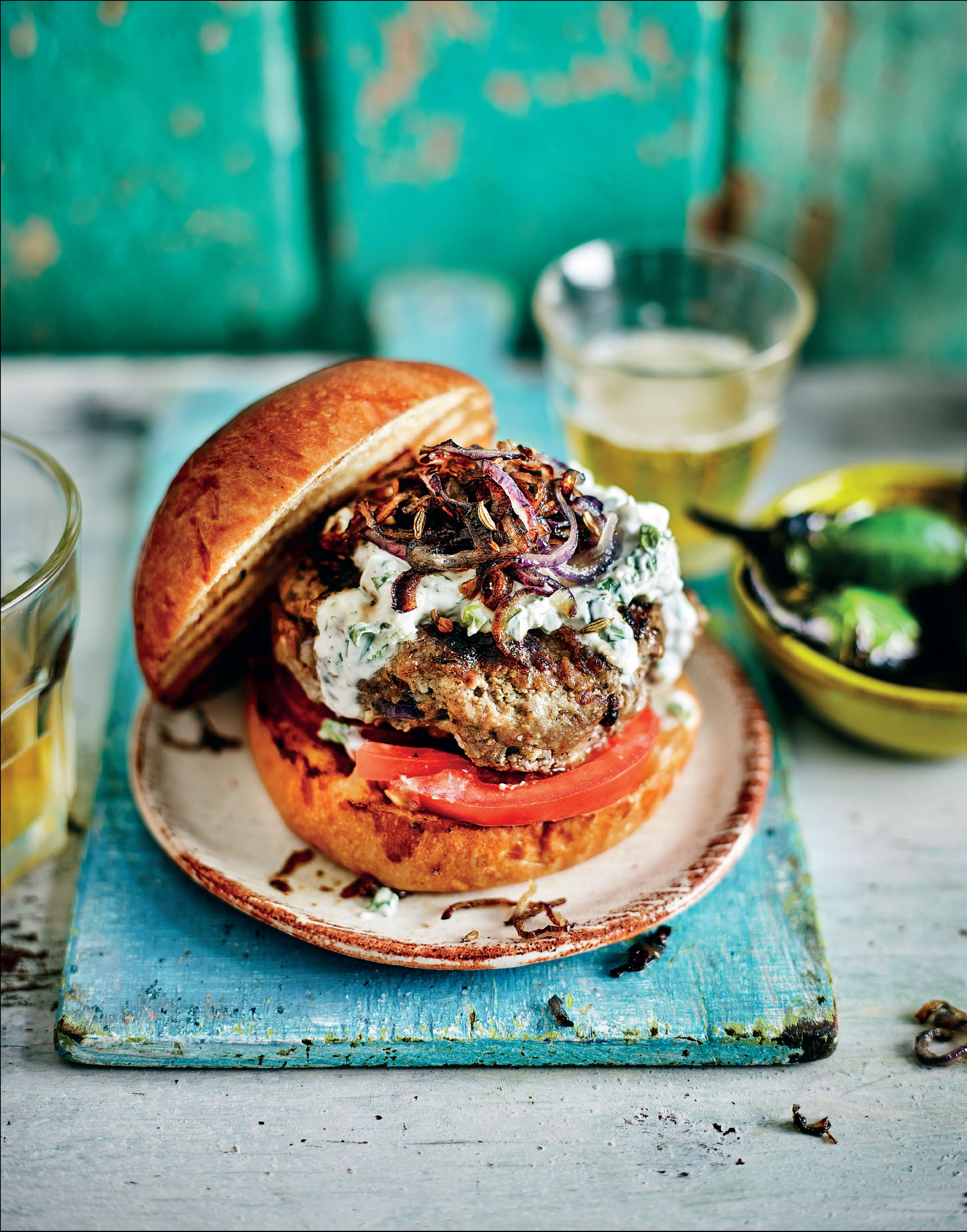 Best-ever burgers with spiced onions