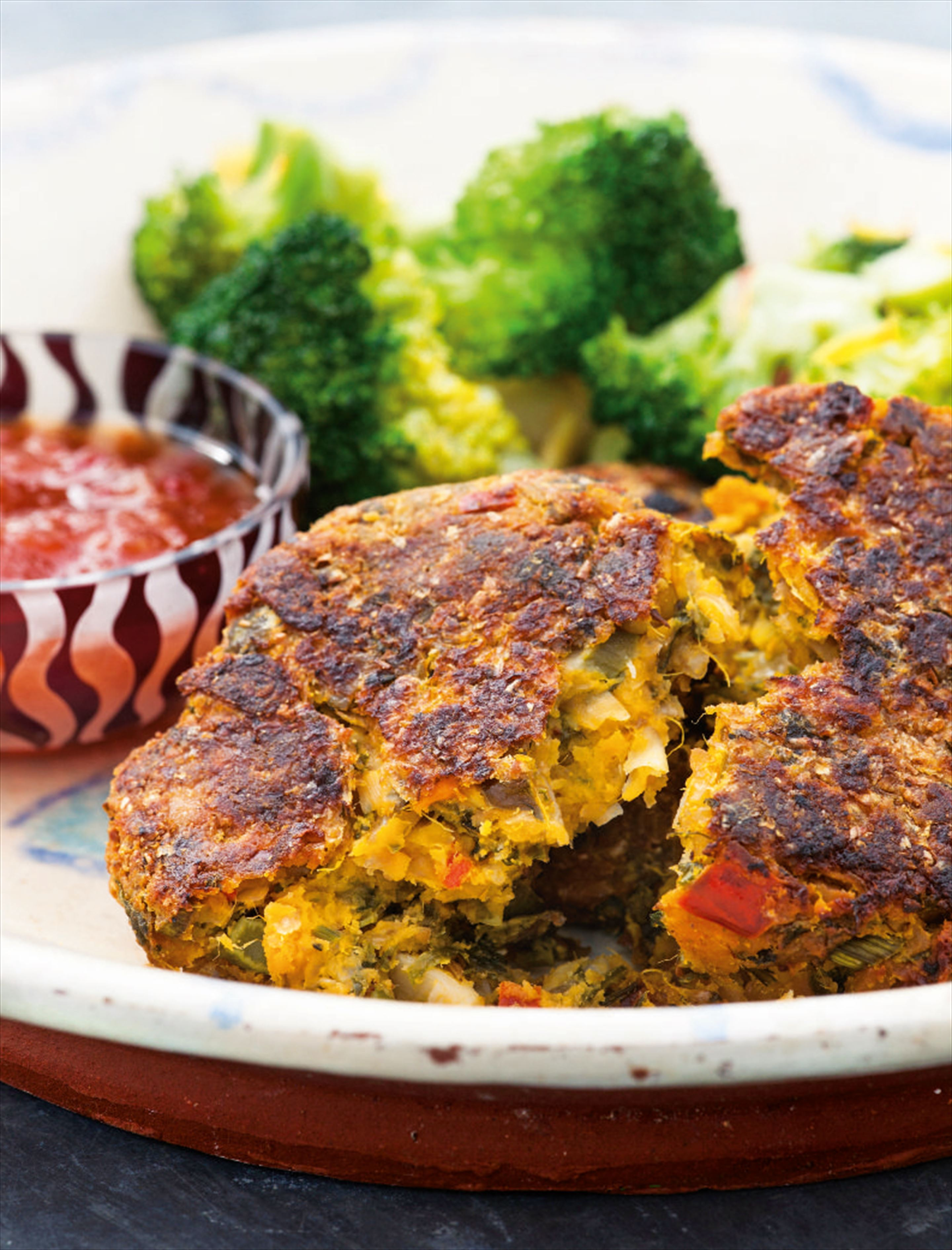 Sweet potato, broccoli, feta and red kale burgers