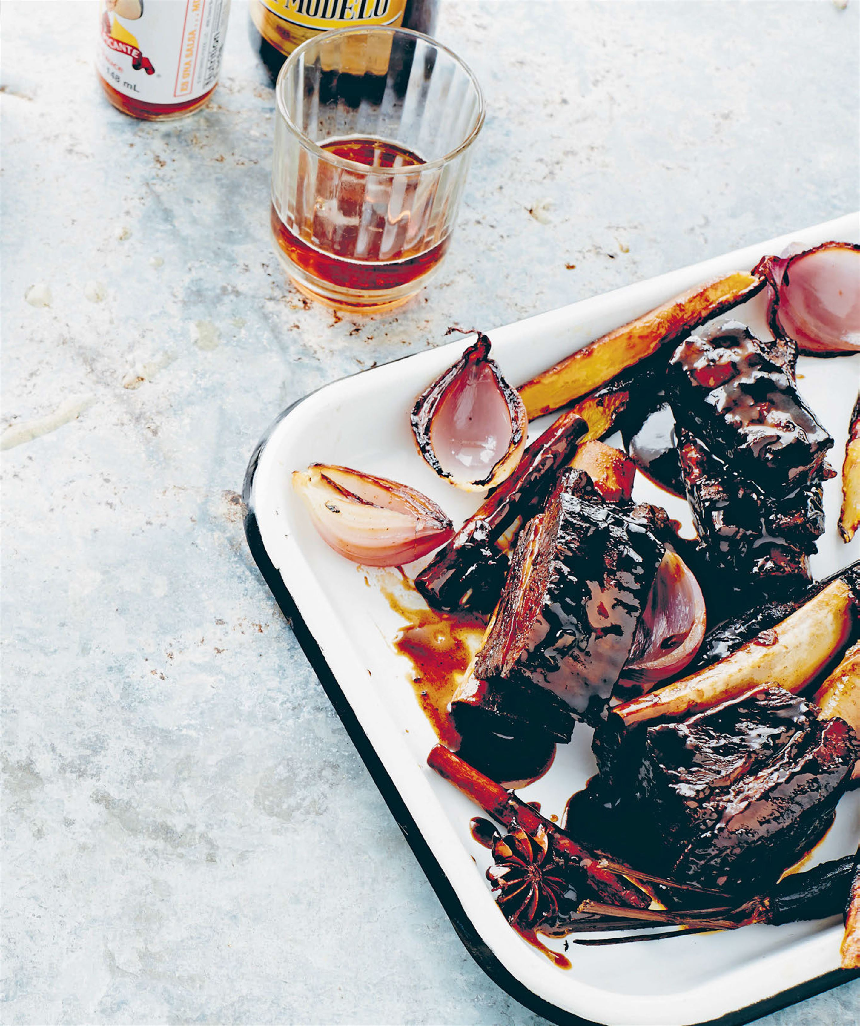Low & slow beef short ribs with cerveza-caramelised onions & ancient grain salad