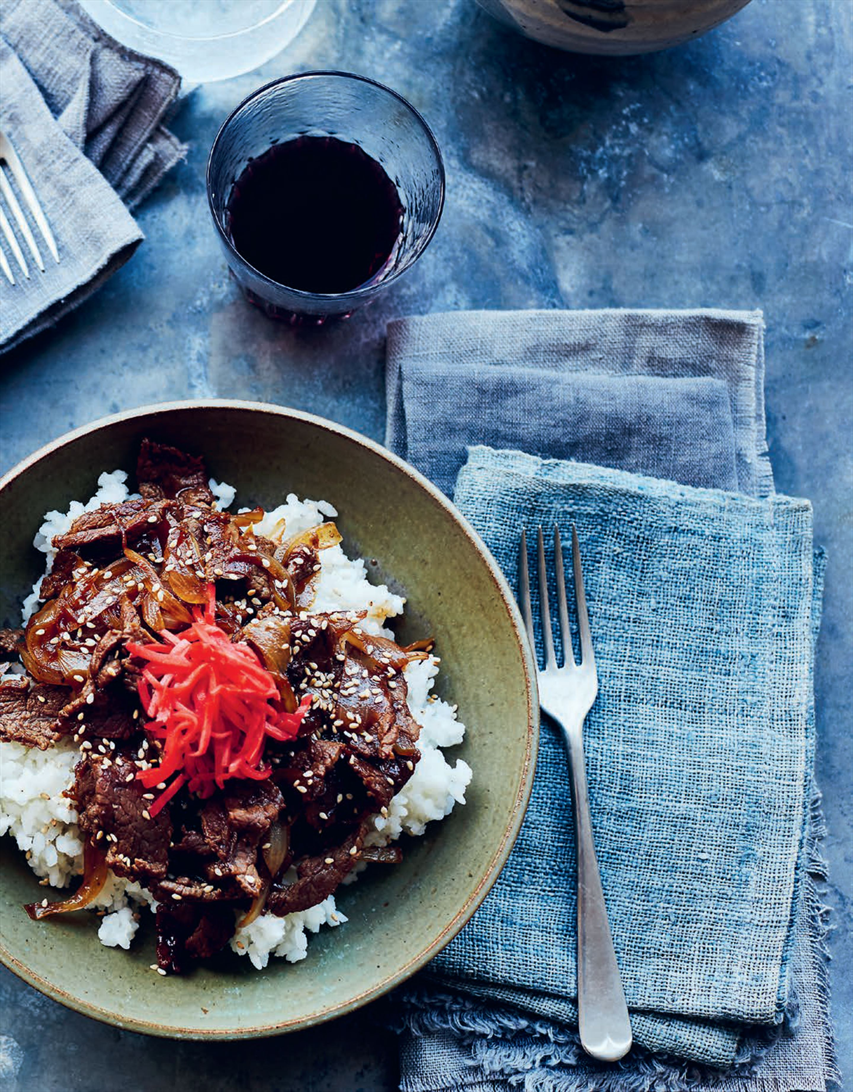 Beef, onion and sweet soy rice bowl