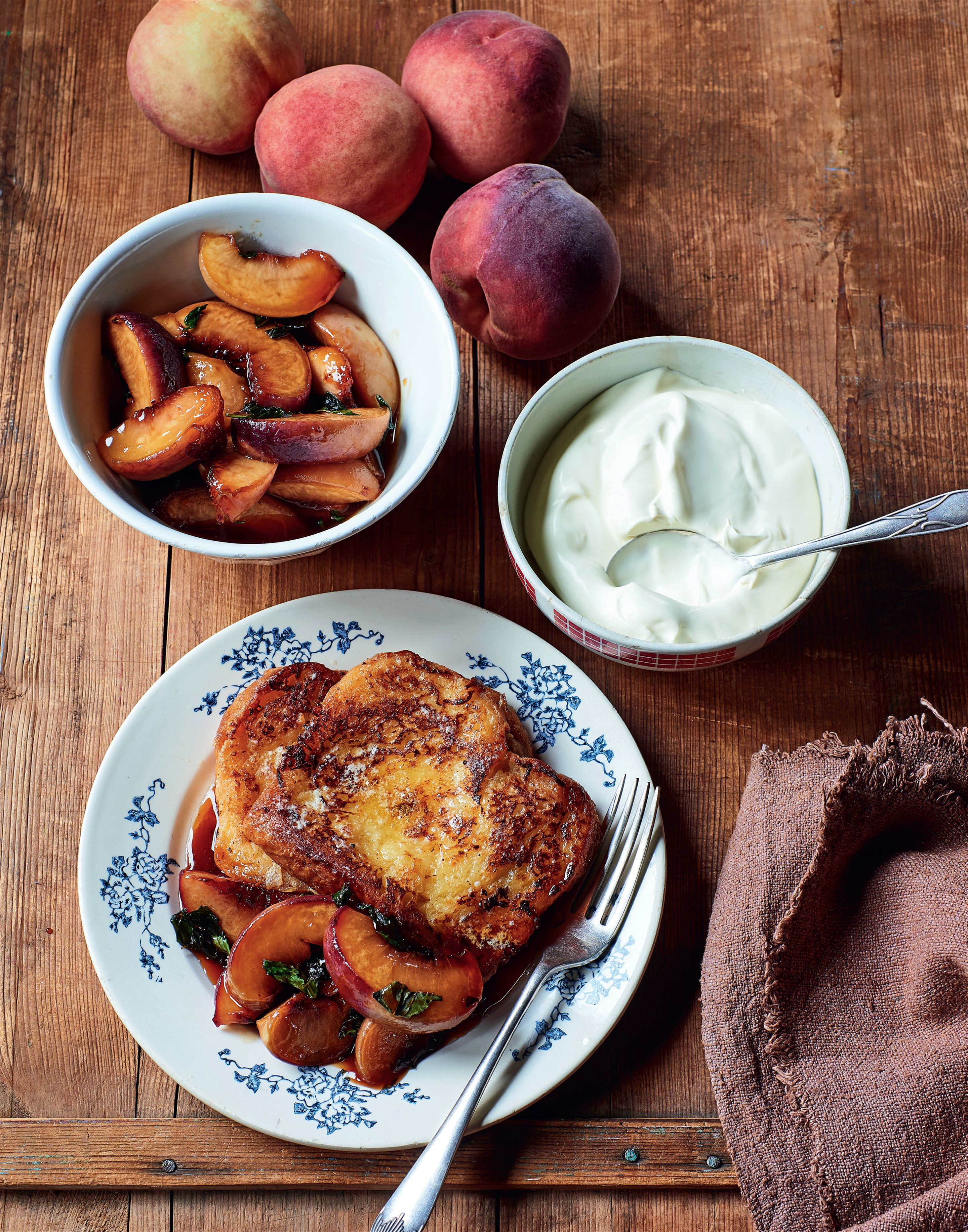 Peach & basil pain perdu
