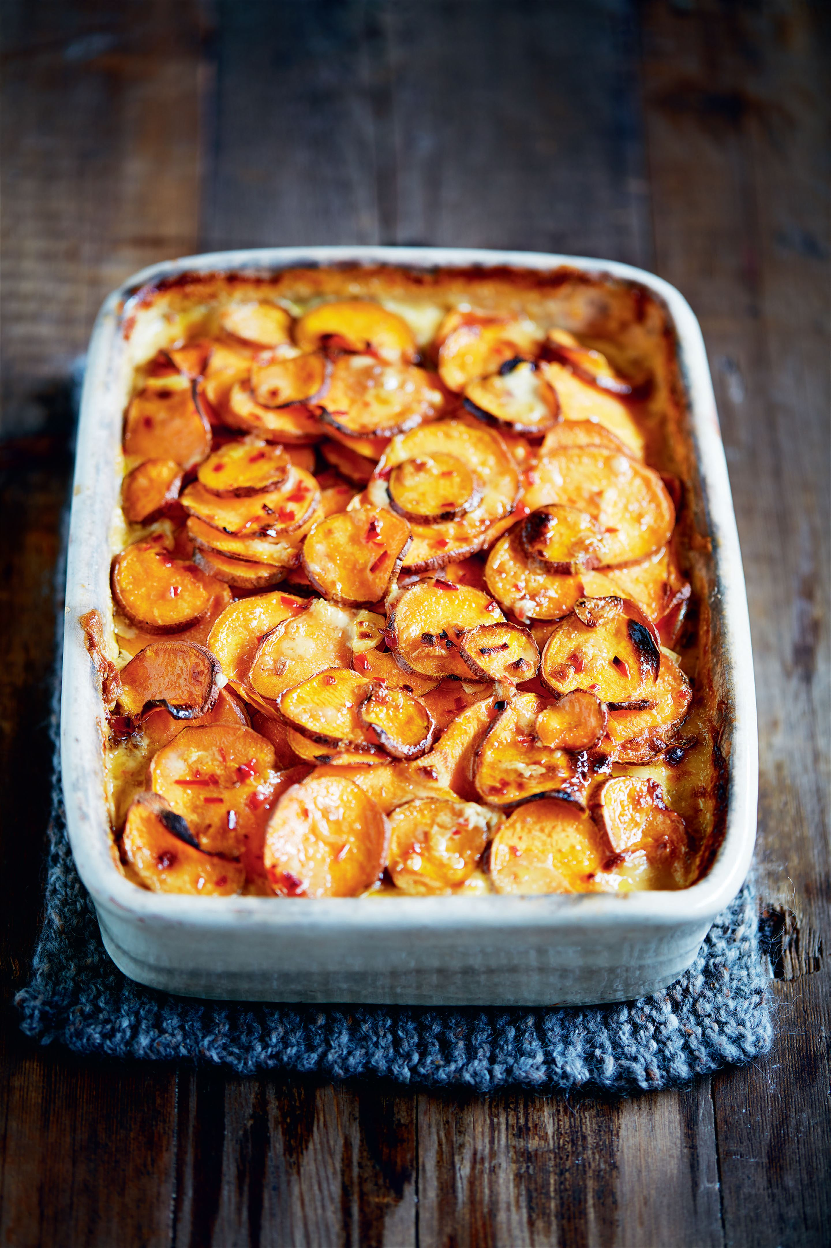 Peanut sweet potato gratin
