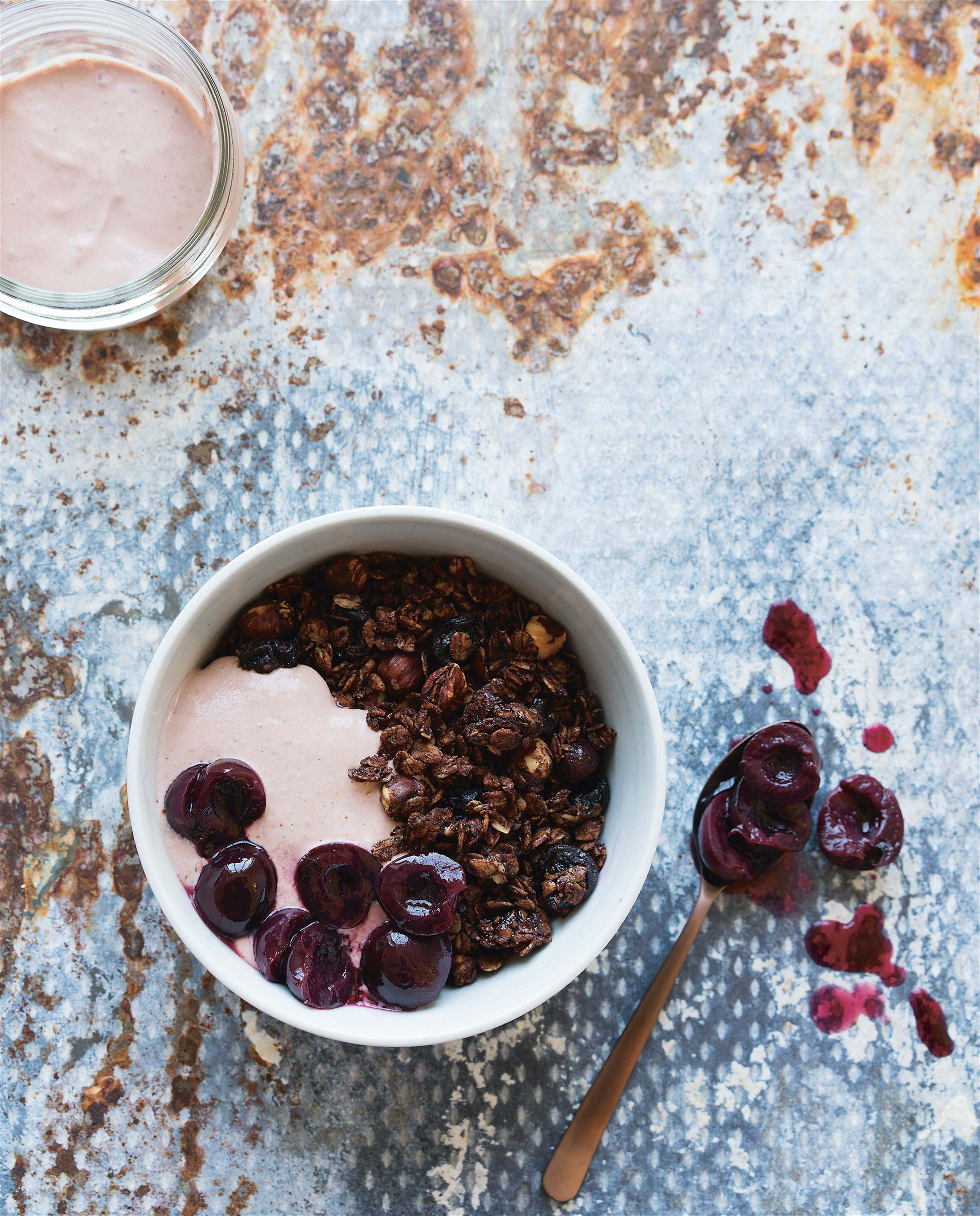 Black forest granola with cherry yoghurt + cherry compote