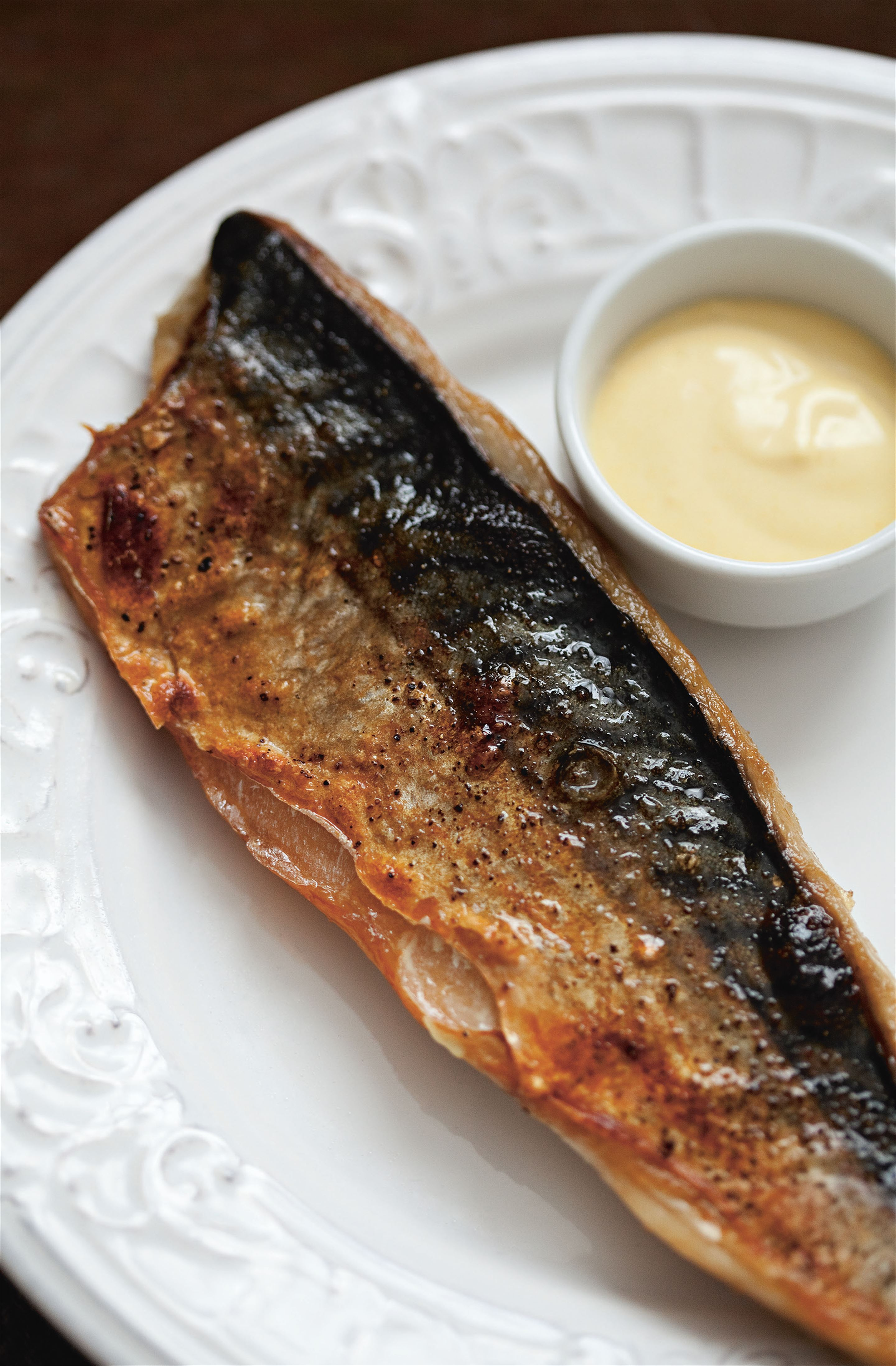Grilled mackerel with mustard mayonnaise