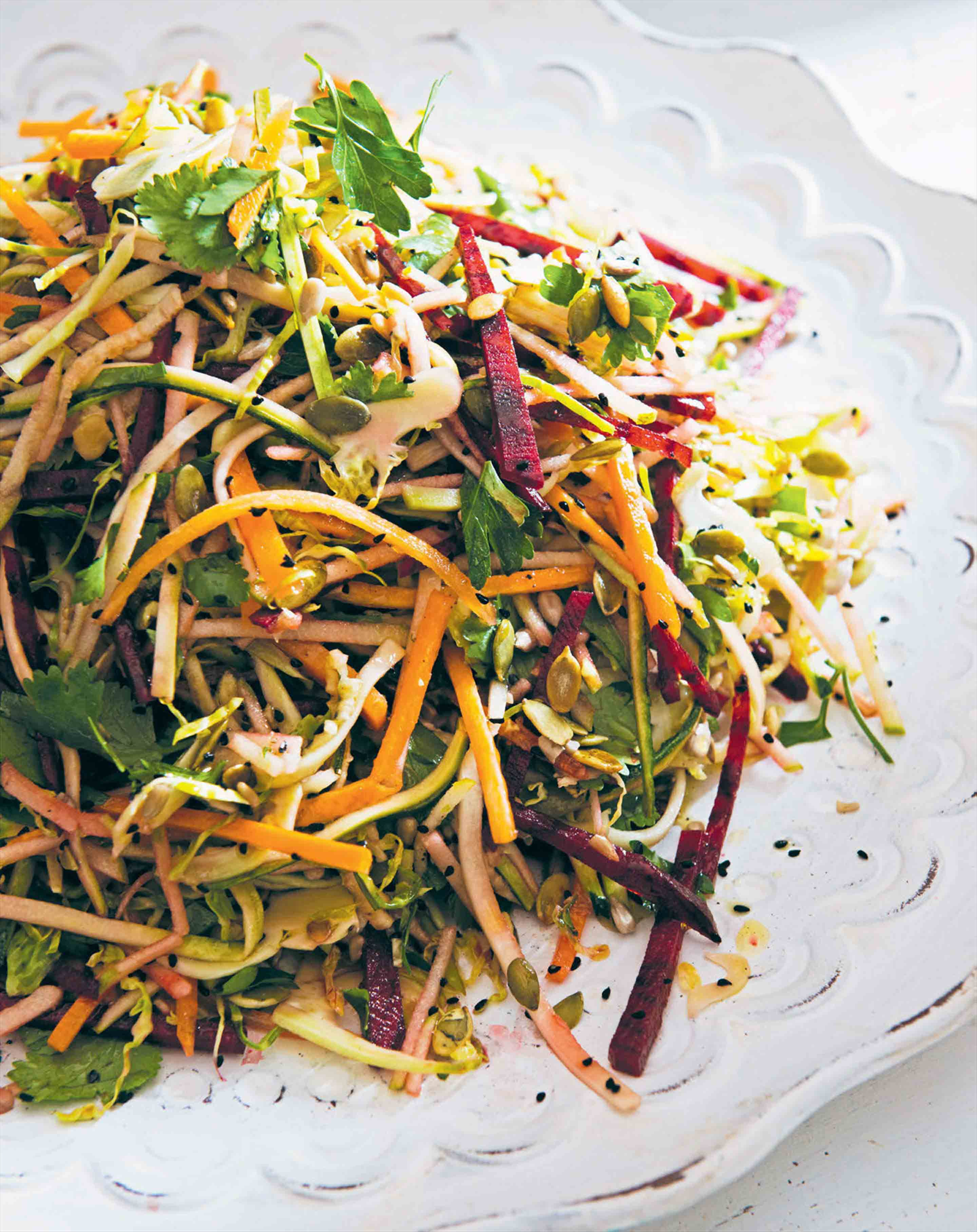 Raw vegetable salad with honey dressing