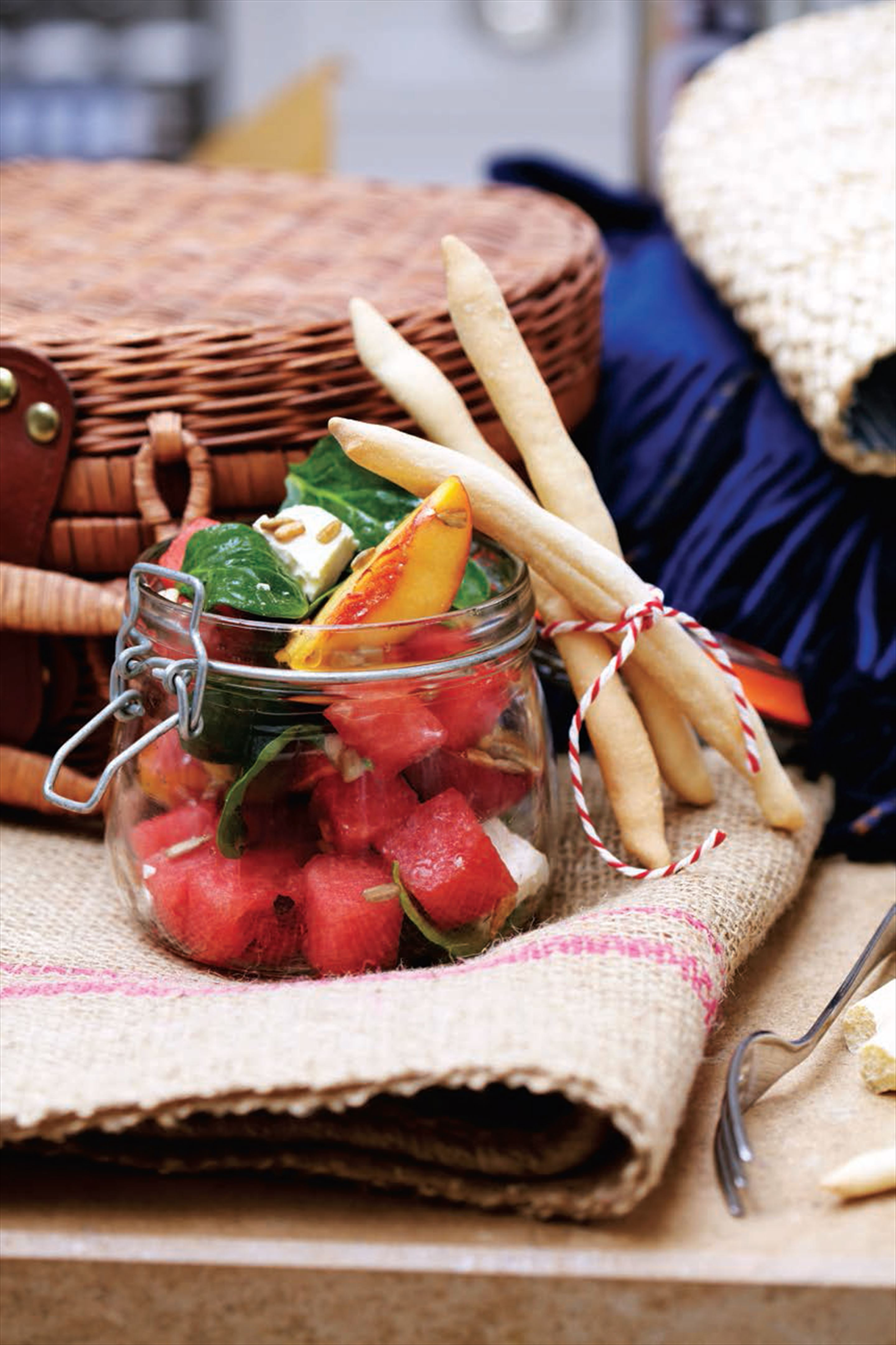 Watermelon, peach and feta salad with roasted sunflower seeds