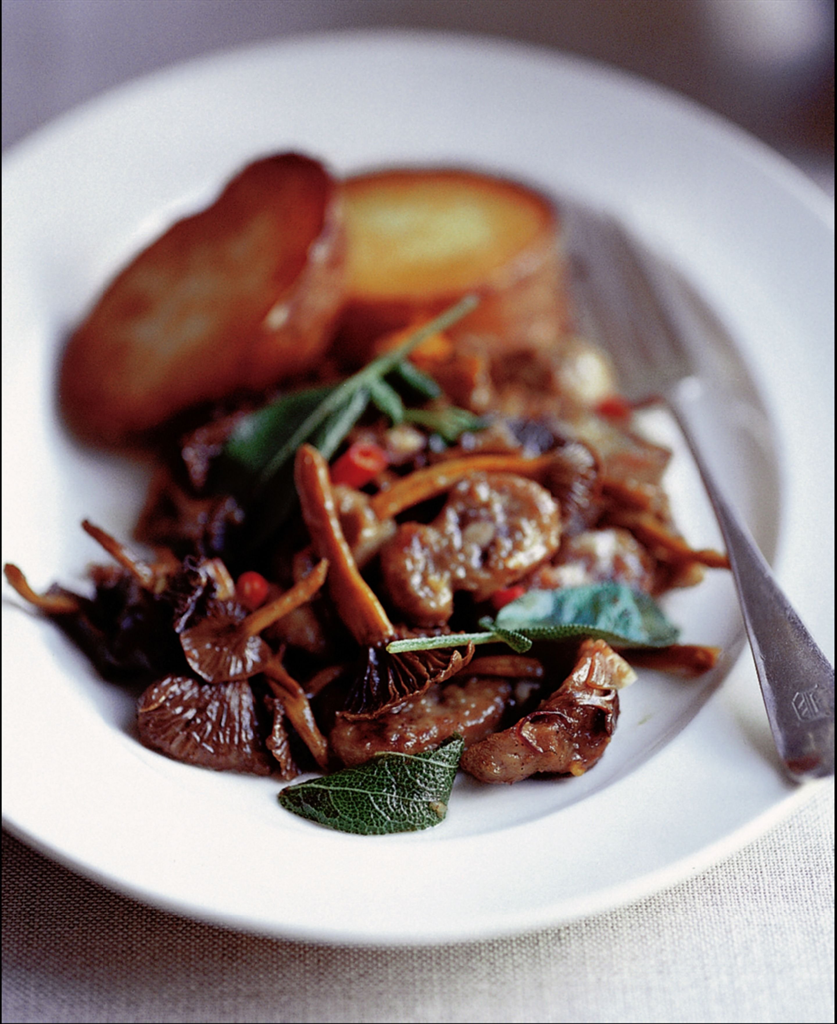 Devilled kidneys with winter chanterelles