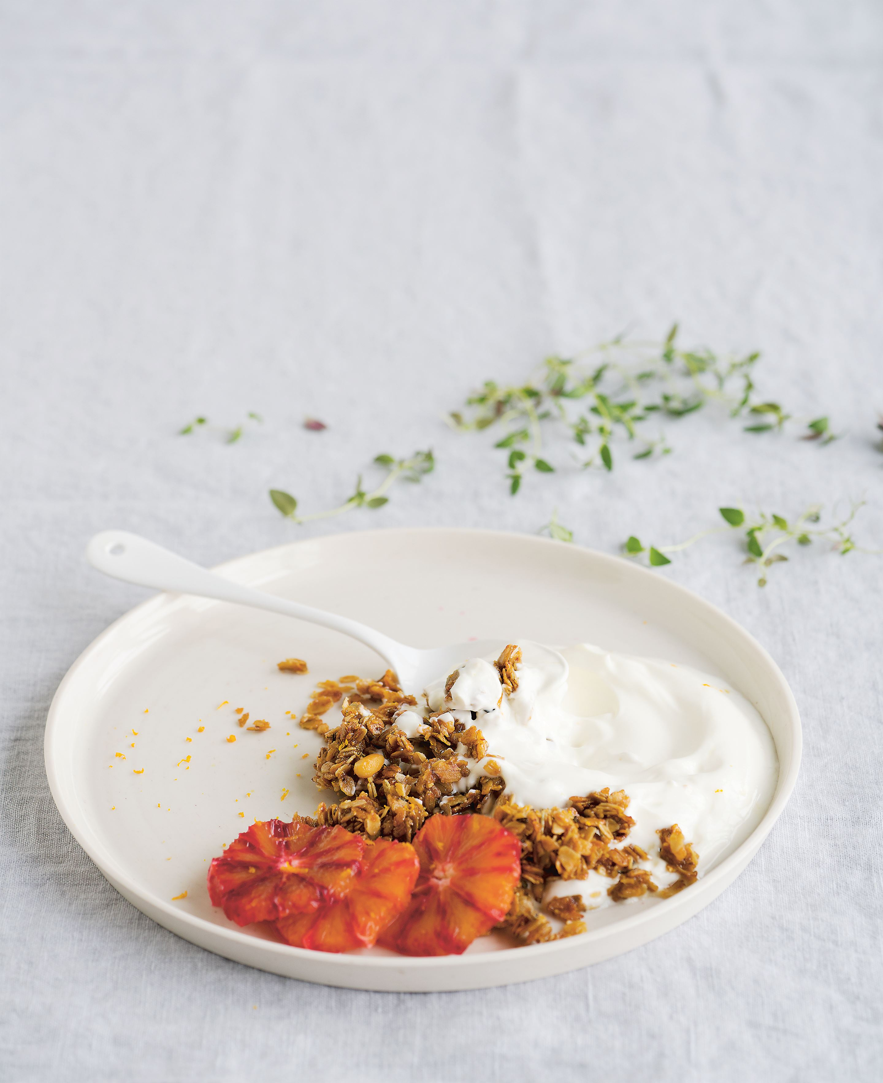 Honey + thyme granola with natural yoghurt + blood orange
