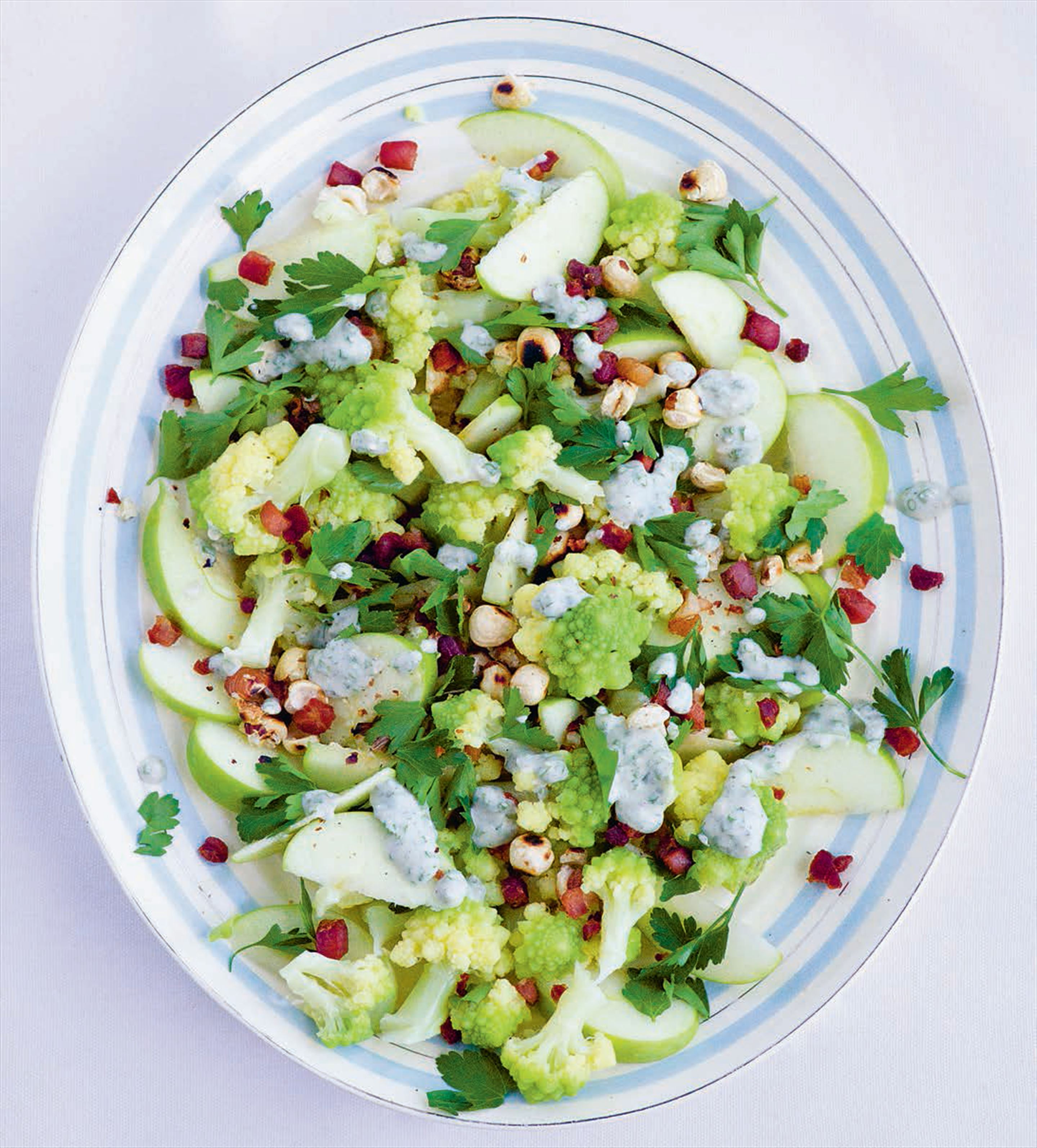 Romanesco, apple & hazelnut salad with blue cheese dressing