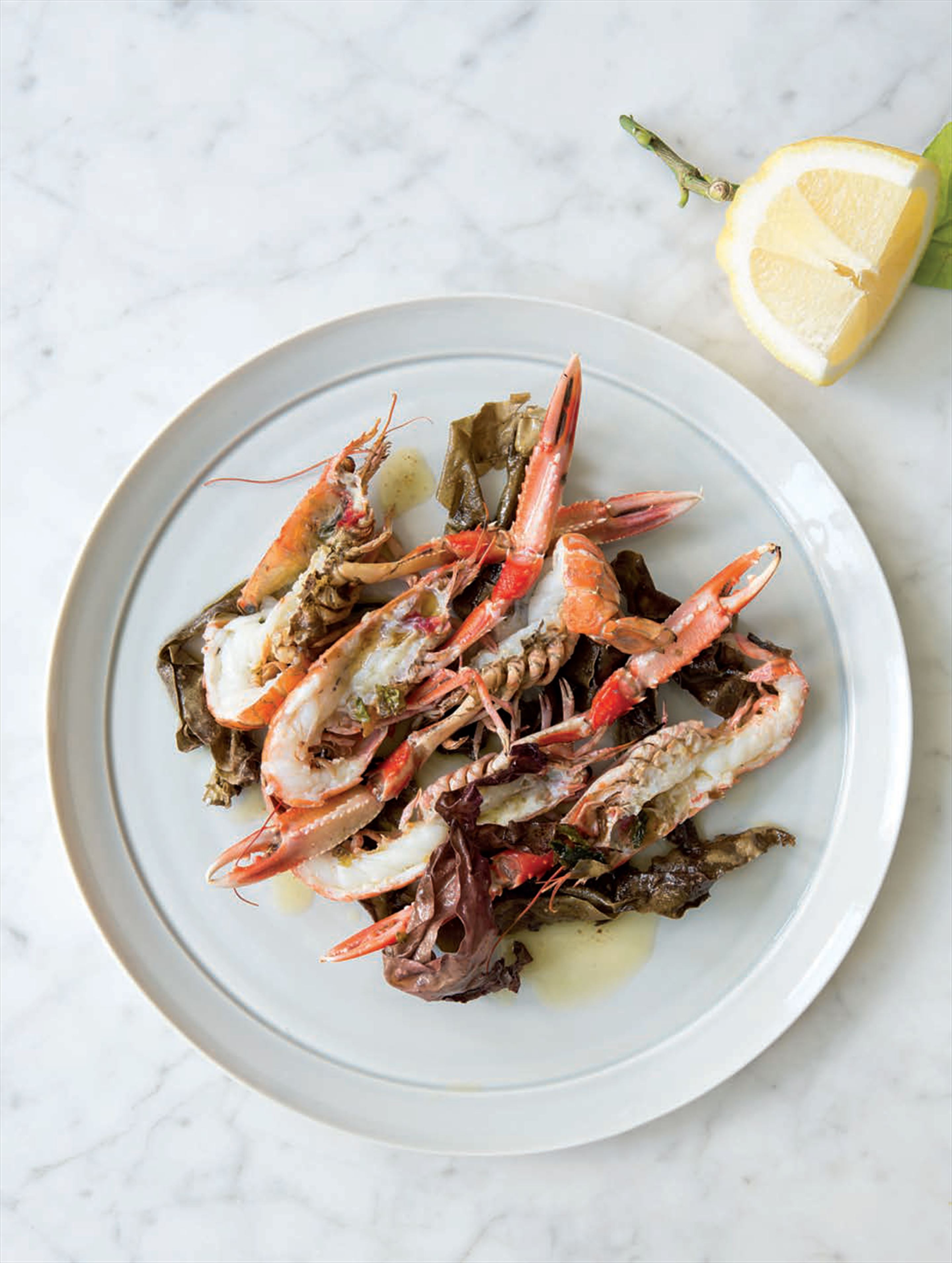 Grilled langoustine with seaweed butter