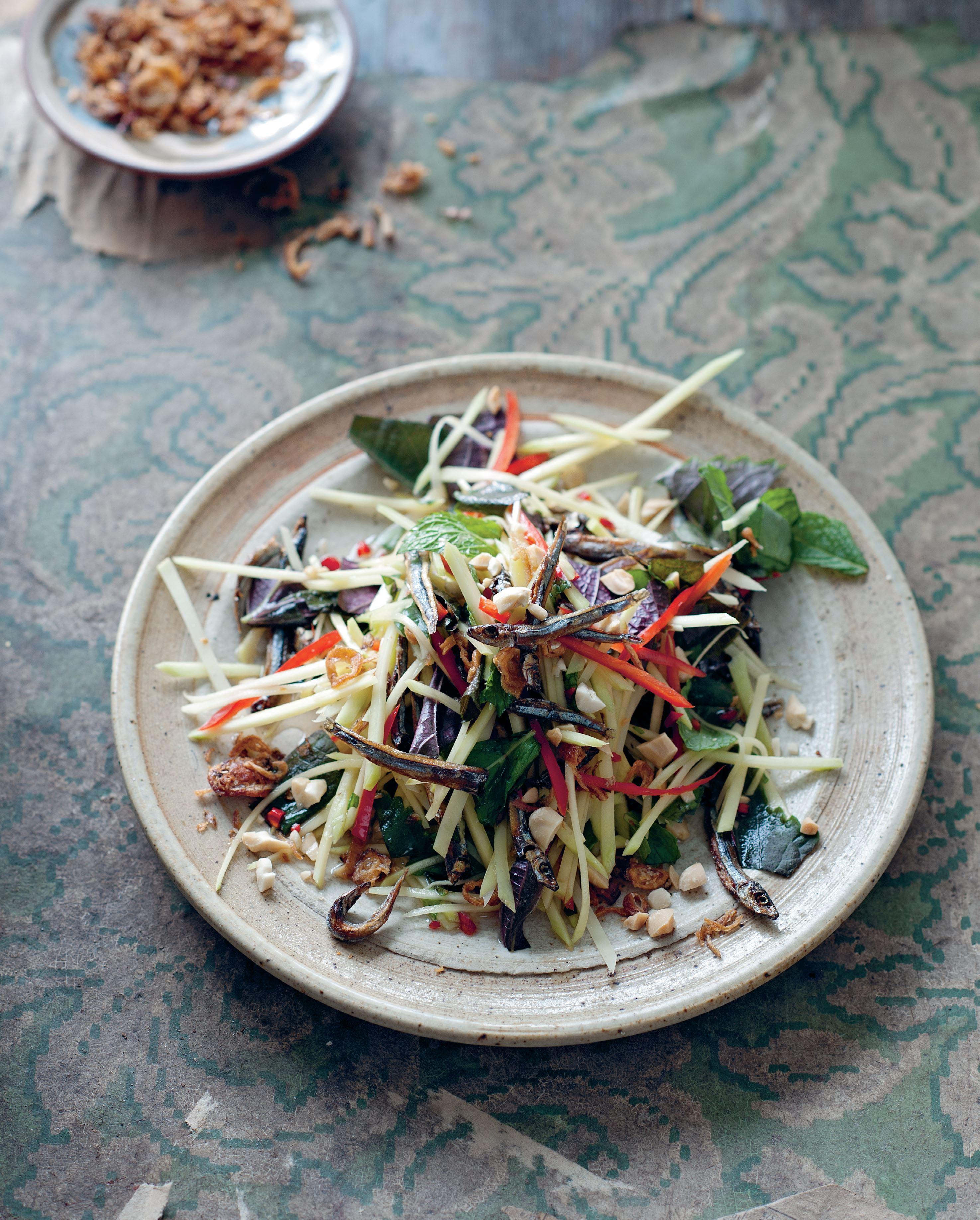 Green mango and dried anchovy salad