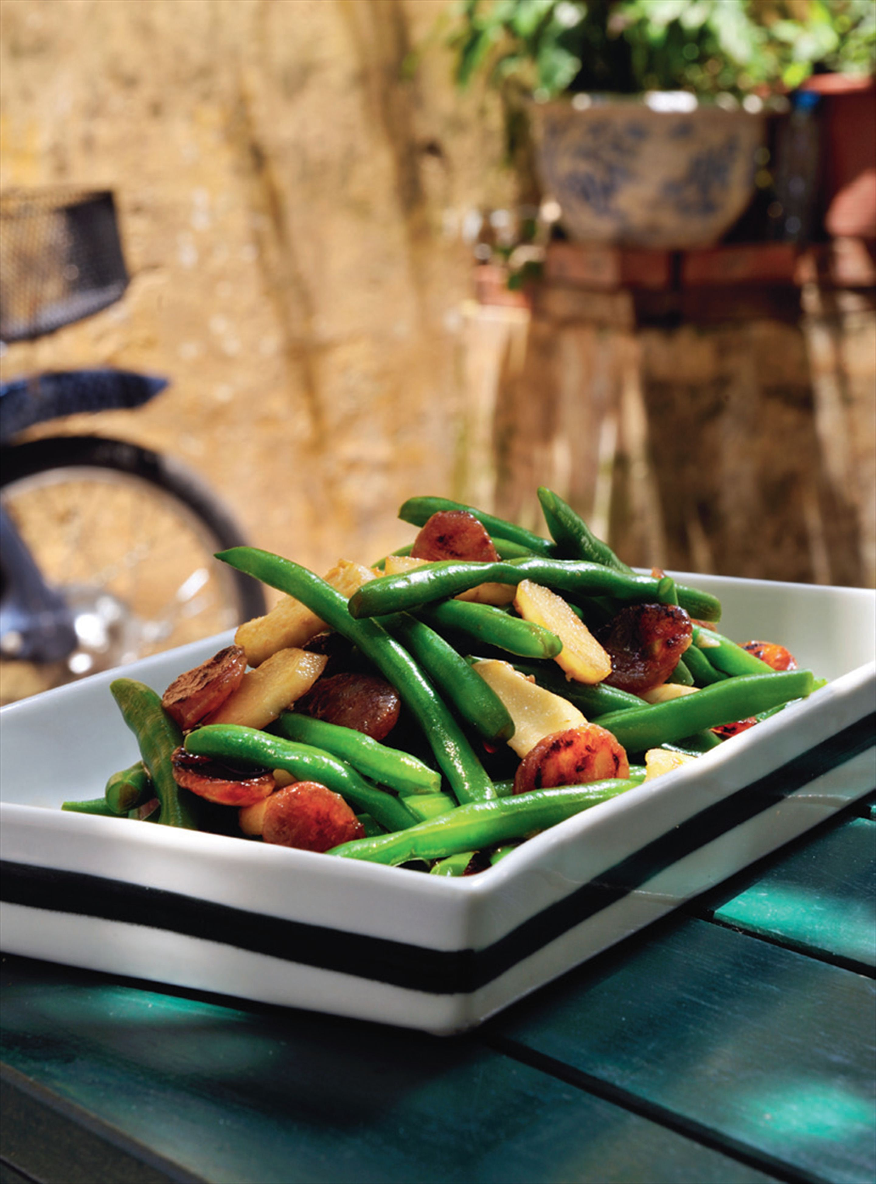 Green beans, lap cheong sausage and water chestnuts