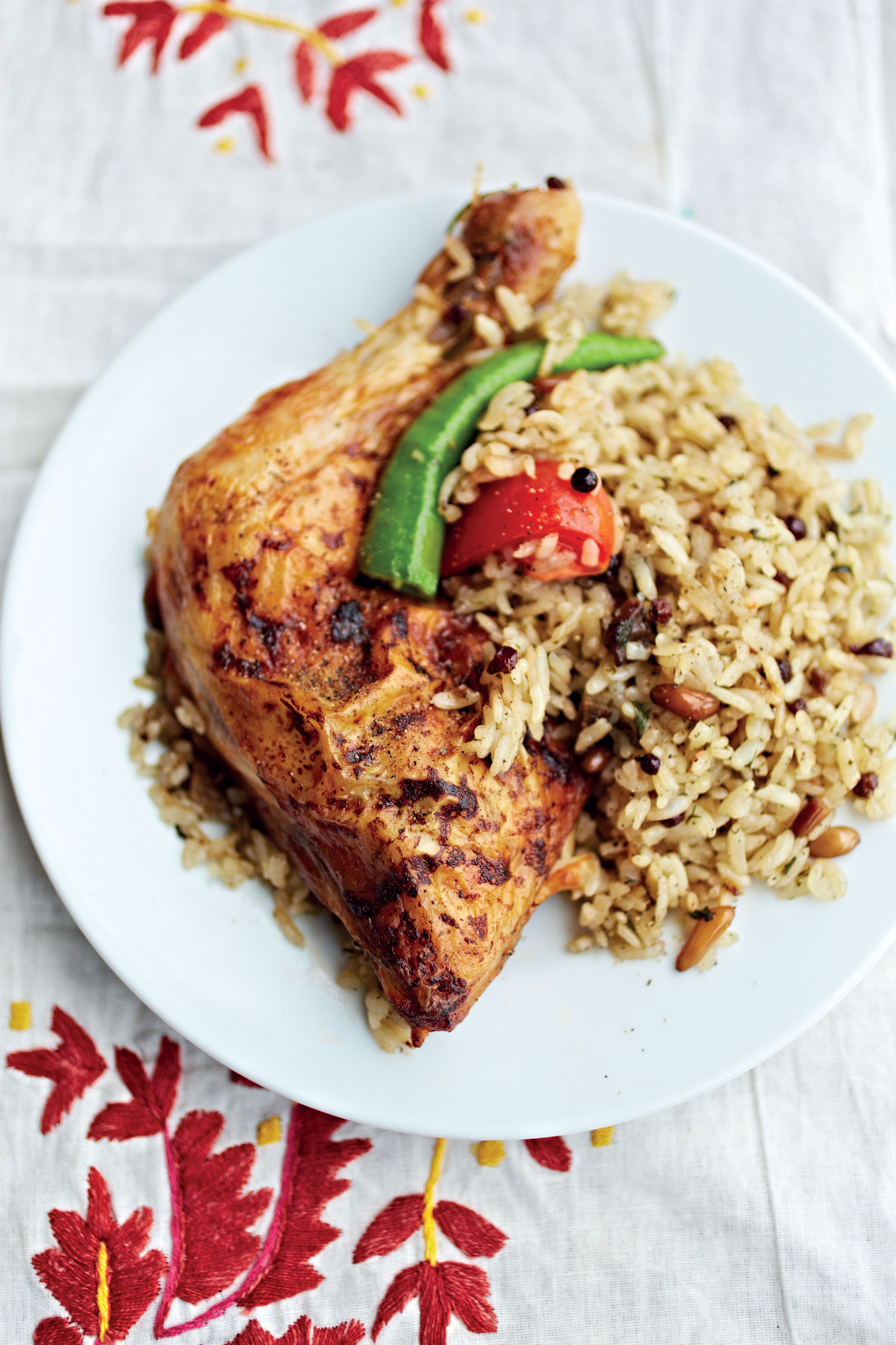 Roast chicken and pilaf