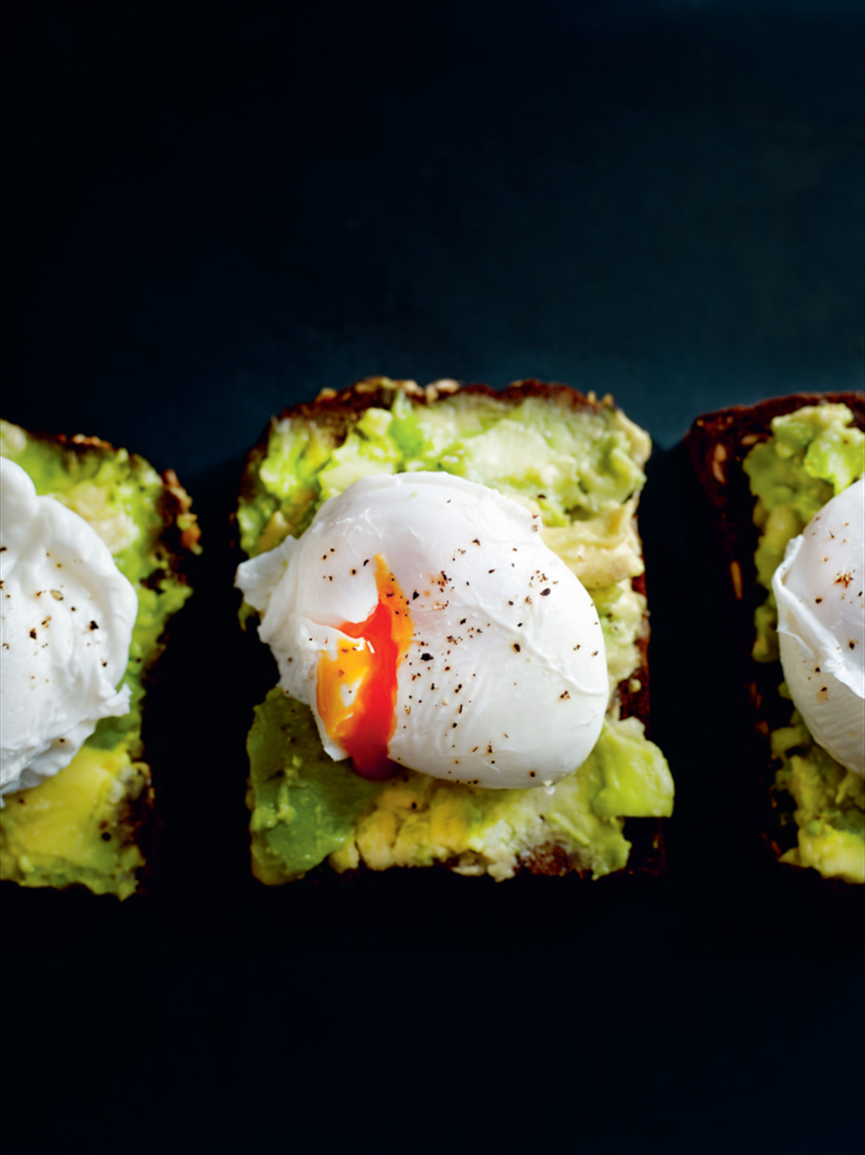 Avocado and poached egg rye toast topper