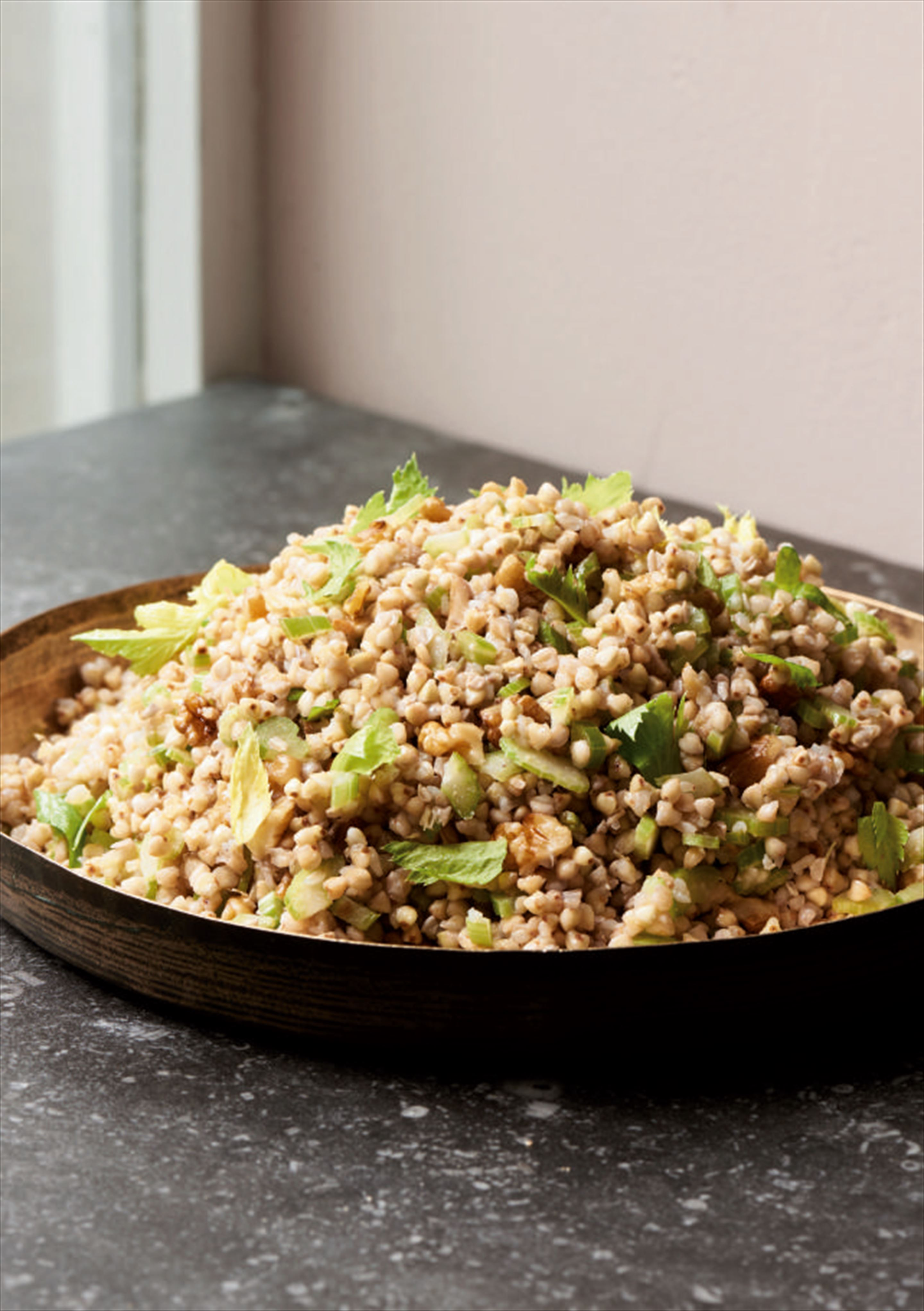 Buckwheat with celery and walnuts
