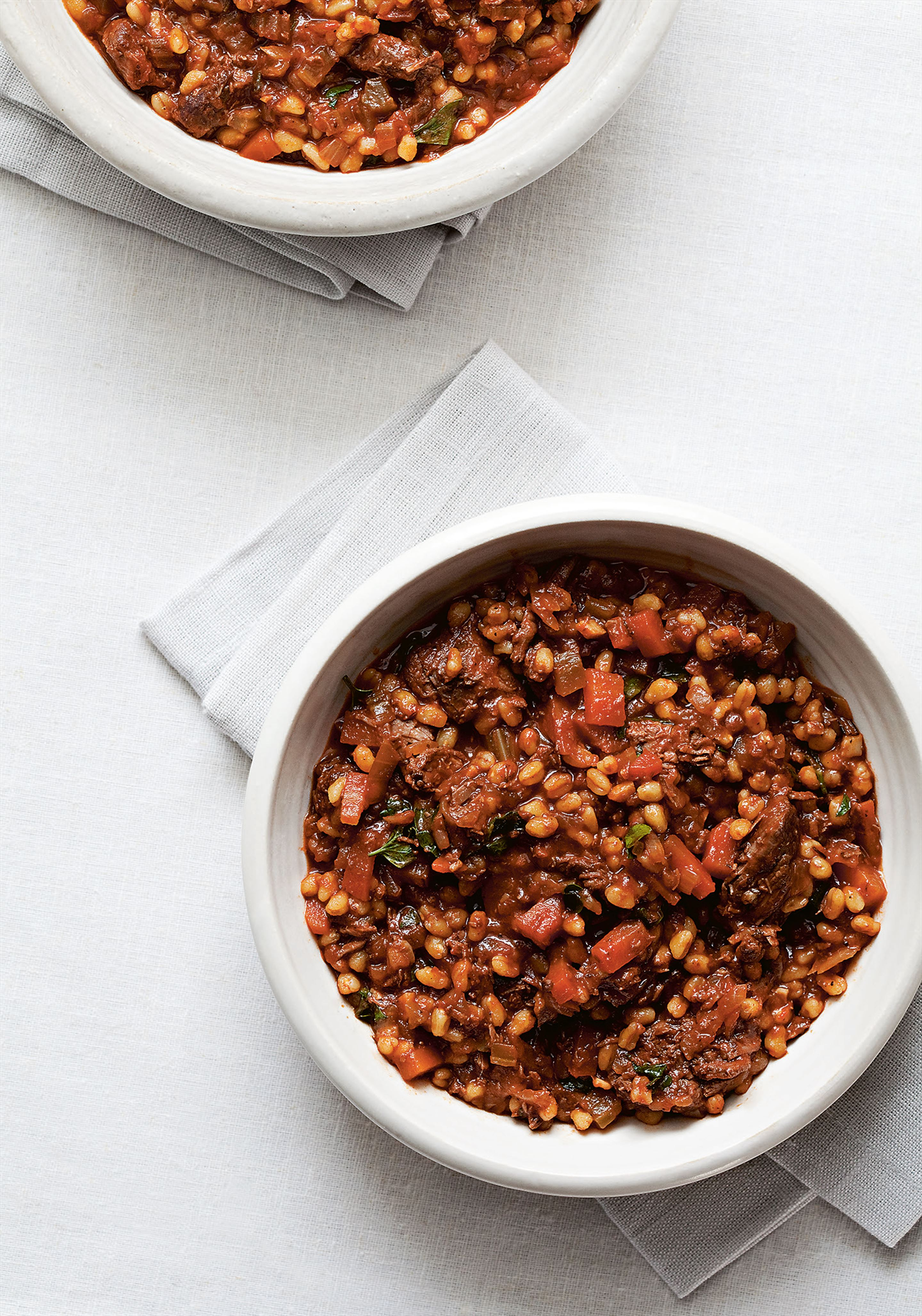 Slow-cooked venison with wheat berries