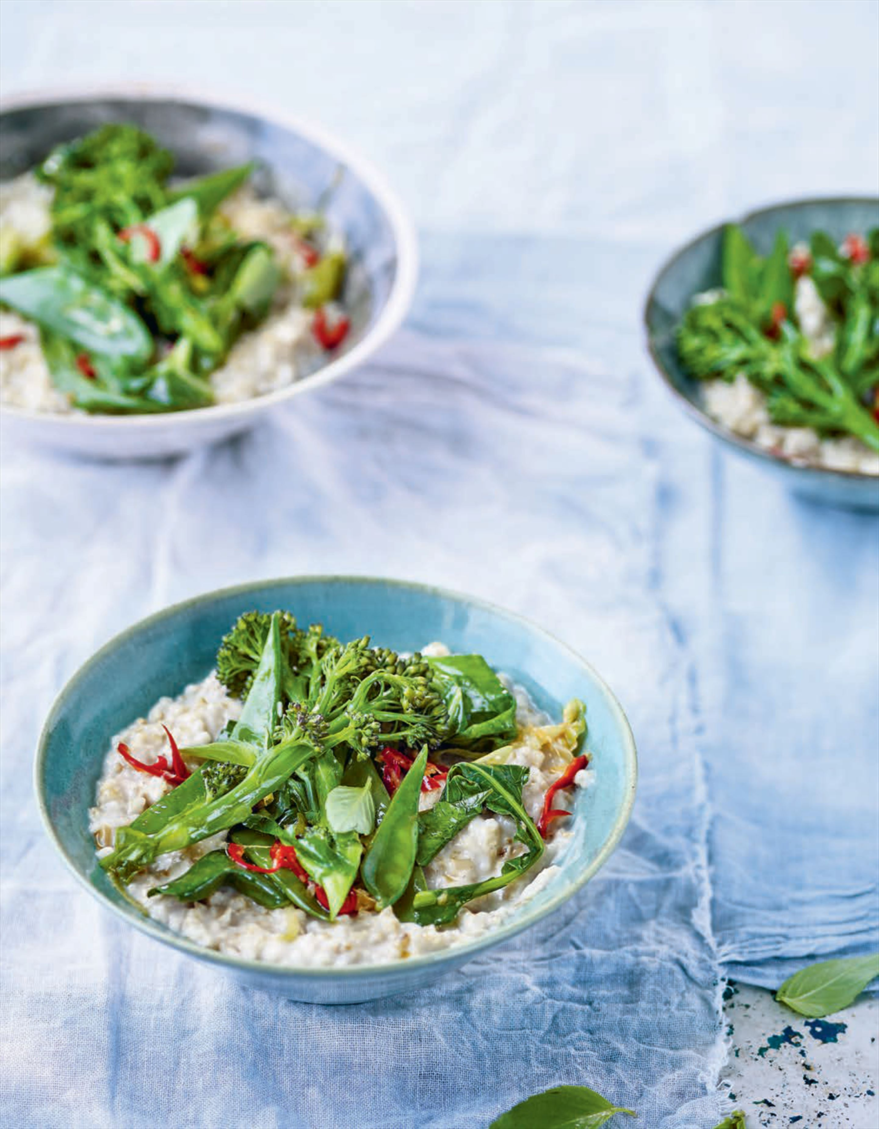 Savoury porridge with oriental greens