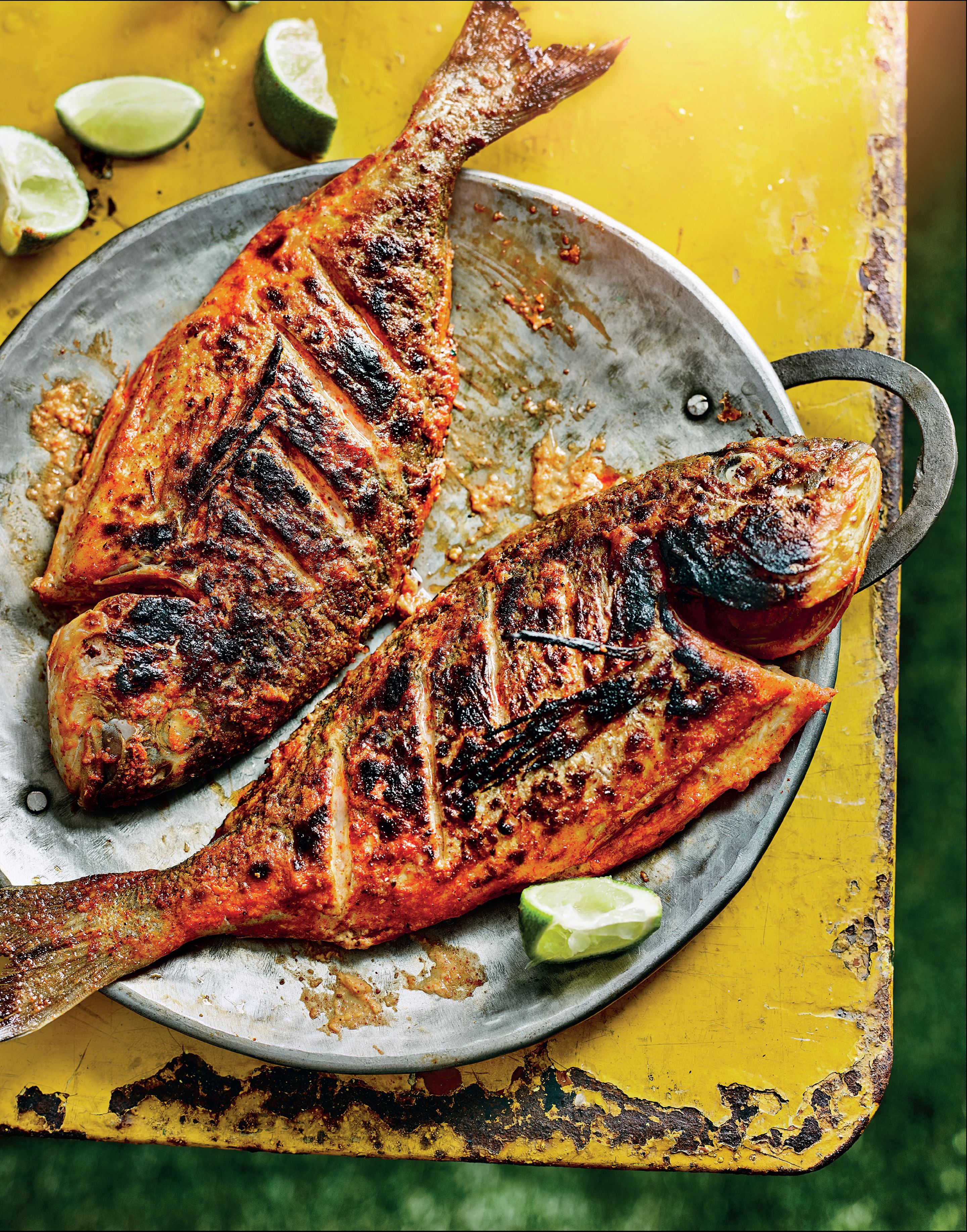 Barbecued tandoori-style sea bream
