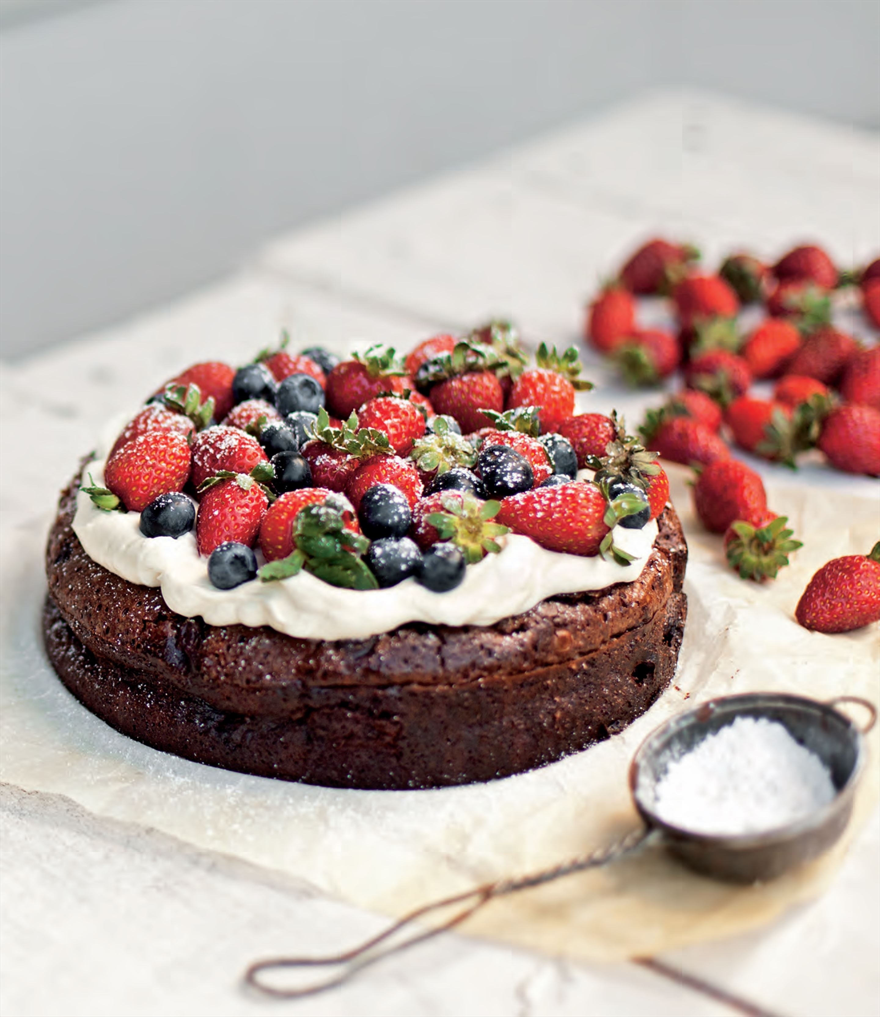 Flourless chocolate cake with morello cherries
