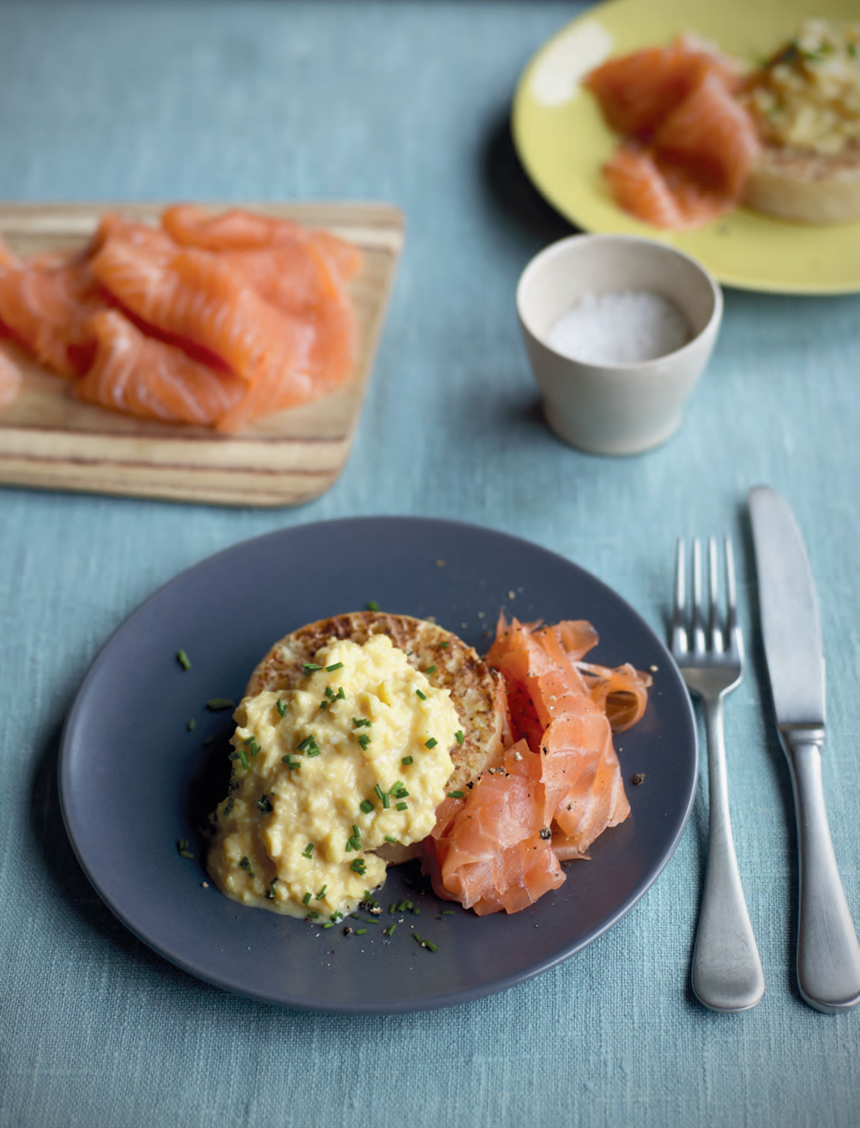Creamy scrambled eggs with smoked salmon & buttered crumpets