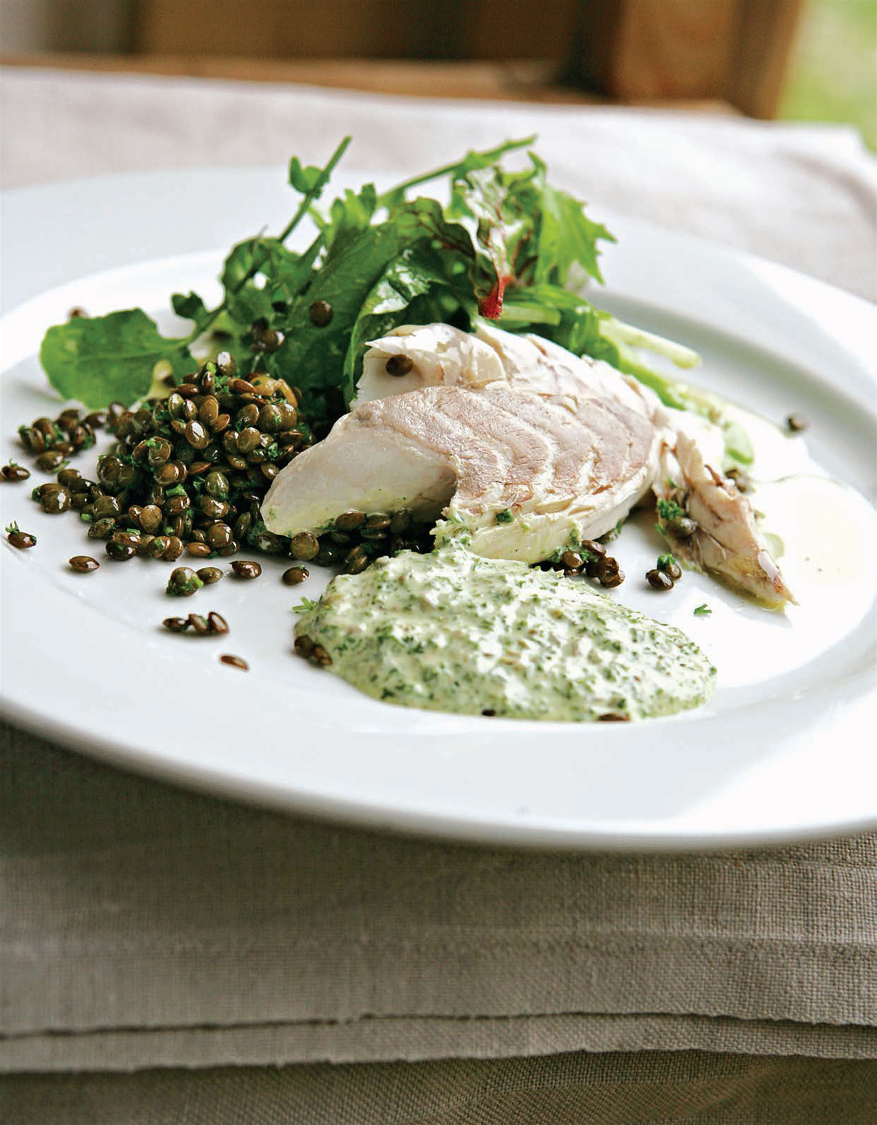 Cold fish with salsa verde mayonnaise