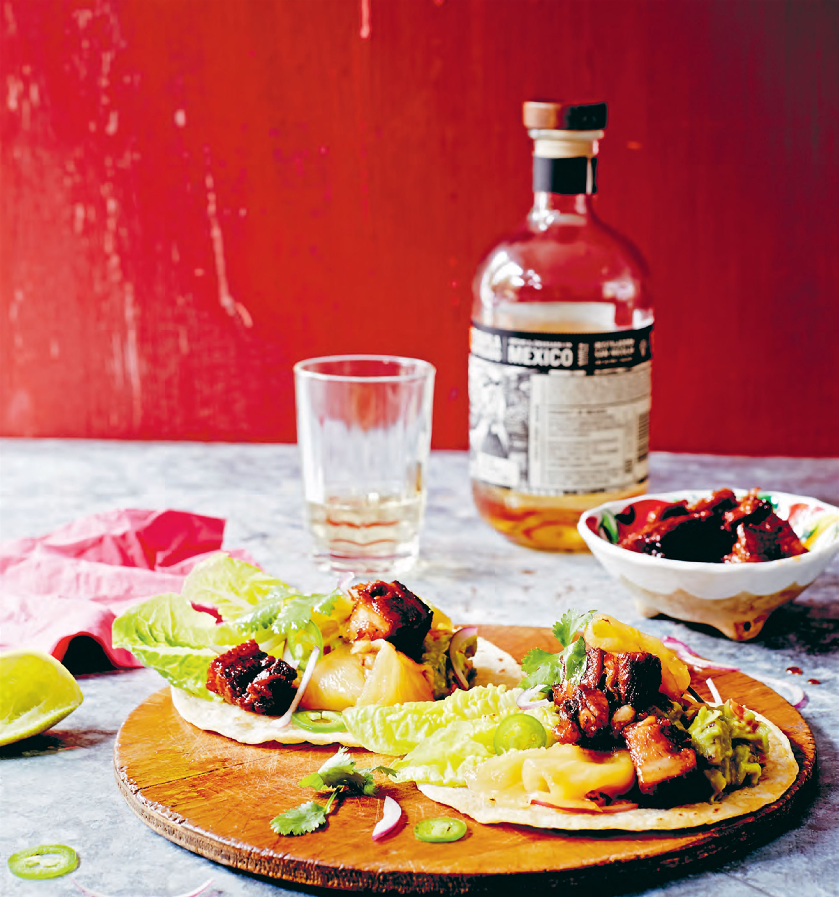 Pork carnitas with pineapple adobo sauce