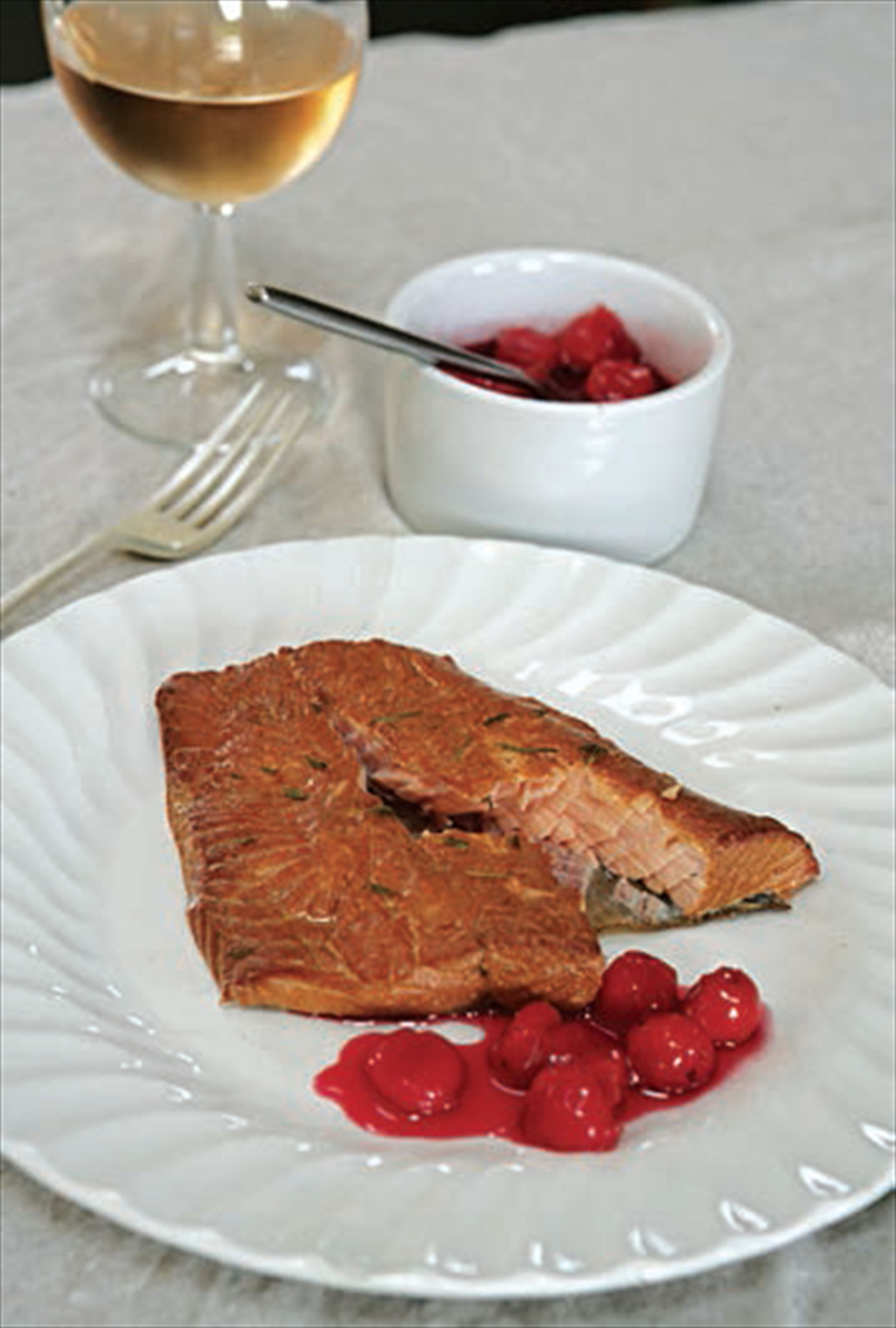Hot-smoked sea trout with morello cherries
