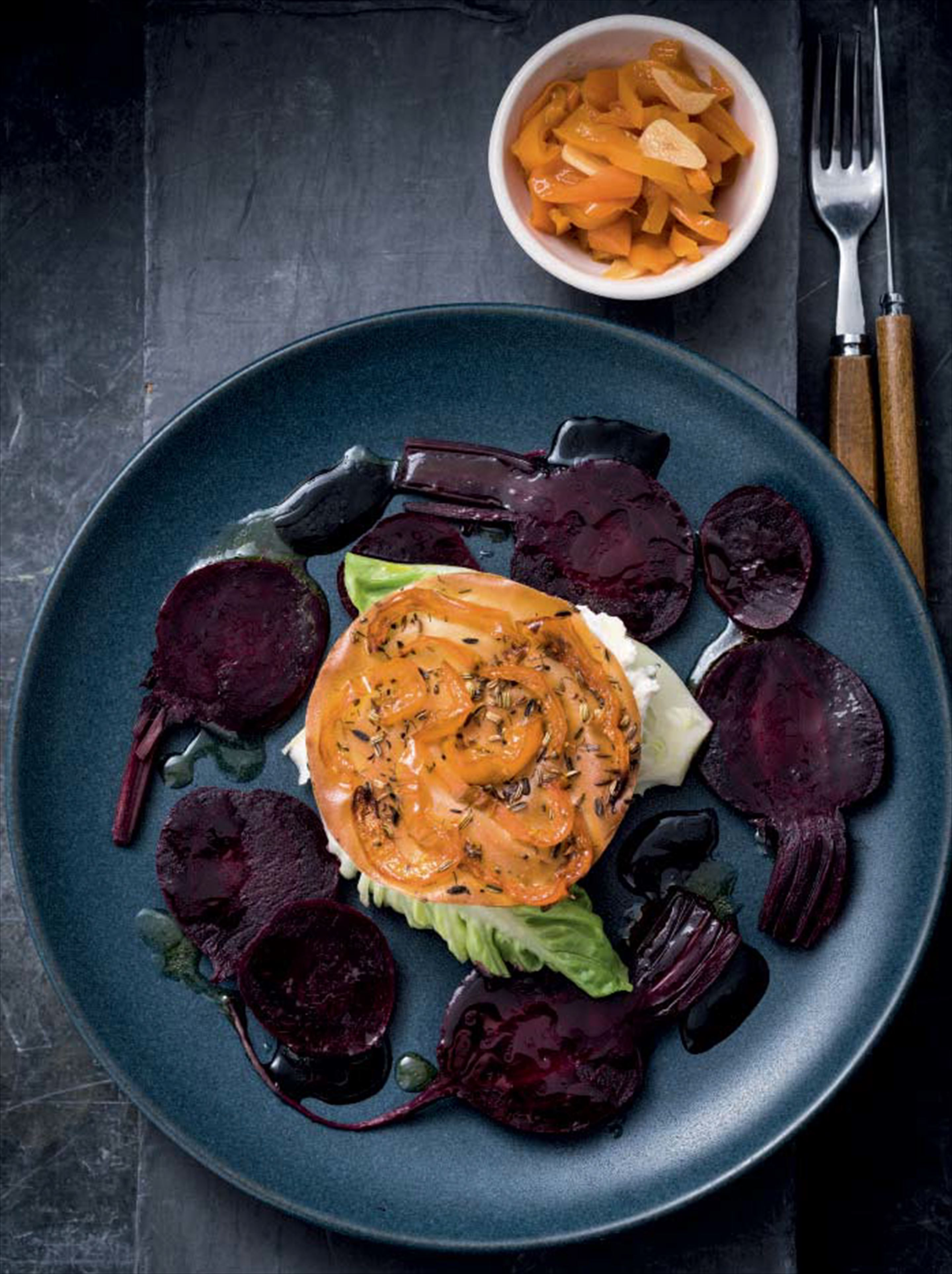 Upside-down pepper chutney, ricotta & beetroot tart