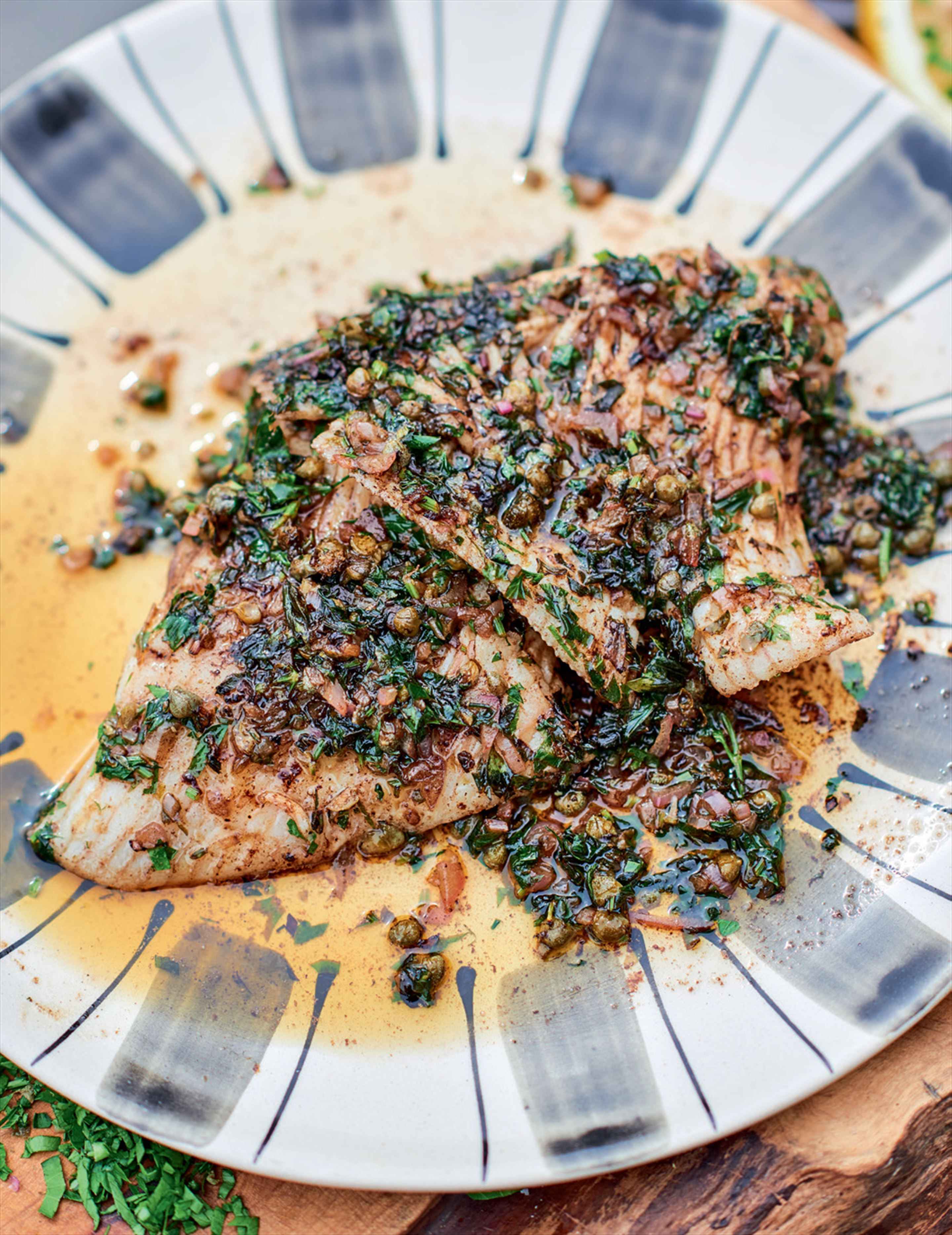 Pan-fried skate wing with nut-brown butter