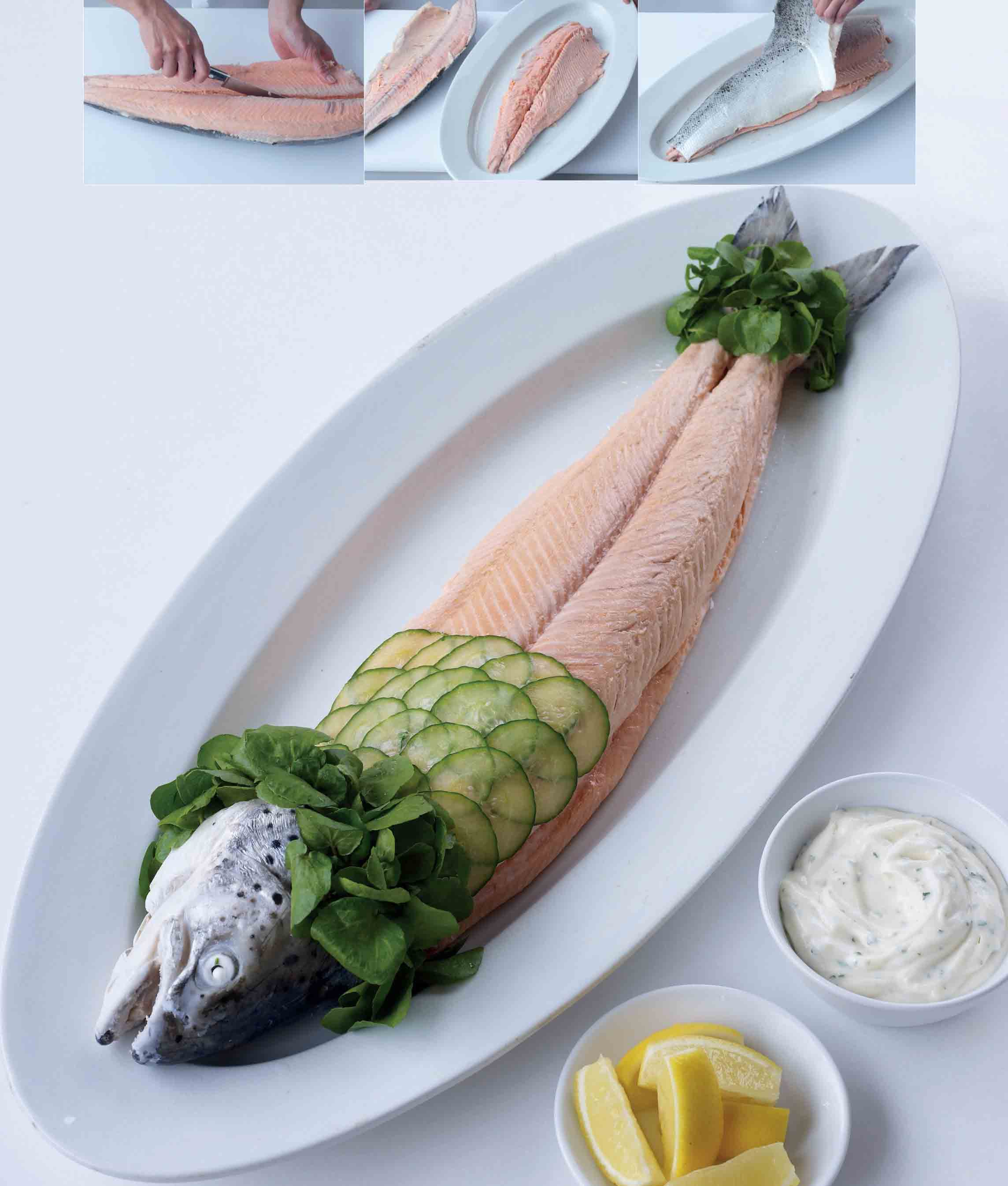 Poached whole salmon with herb mayonnaise