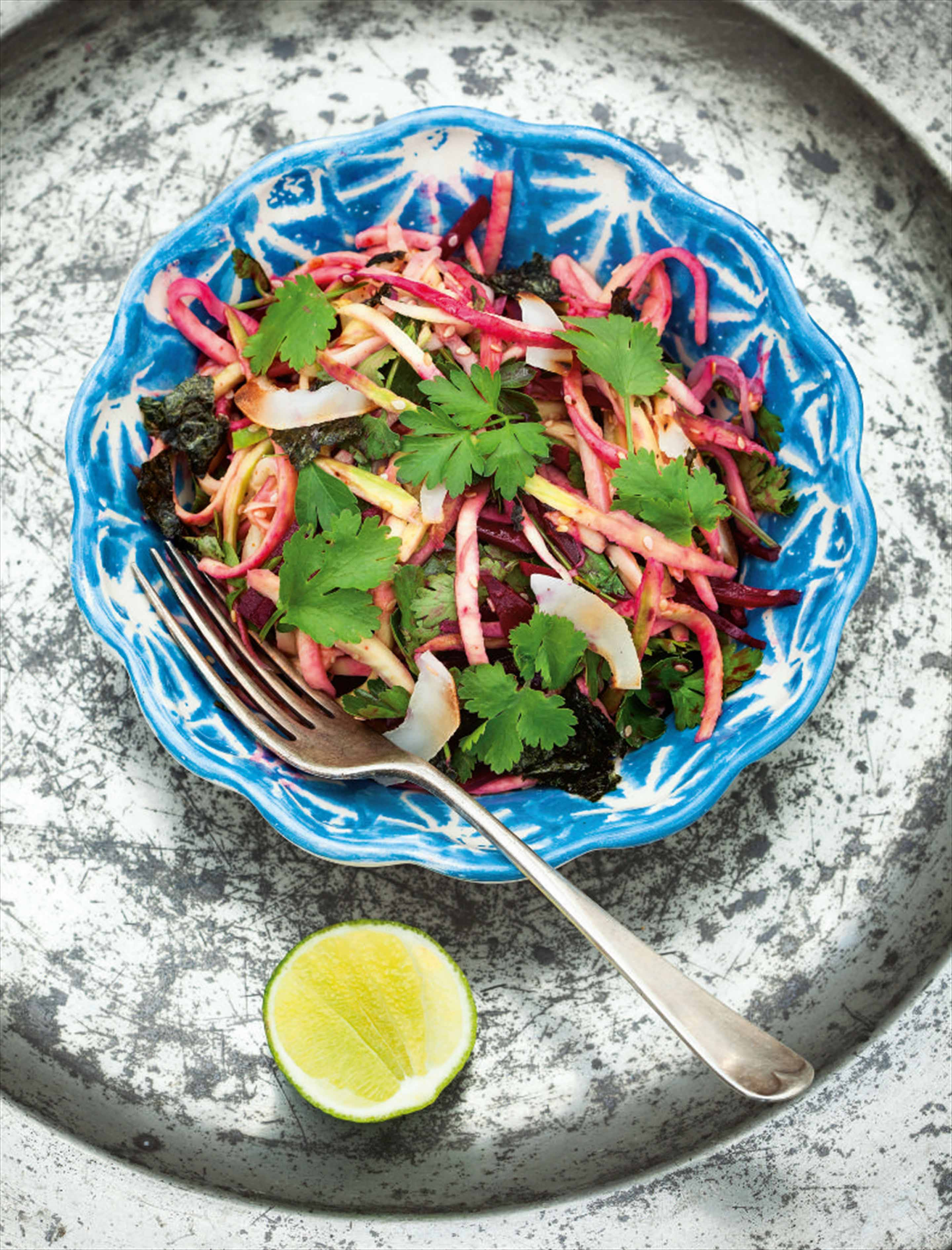 Beetroot, parsley and green mango salad