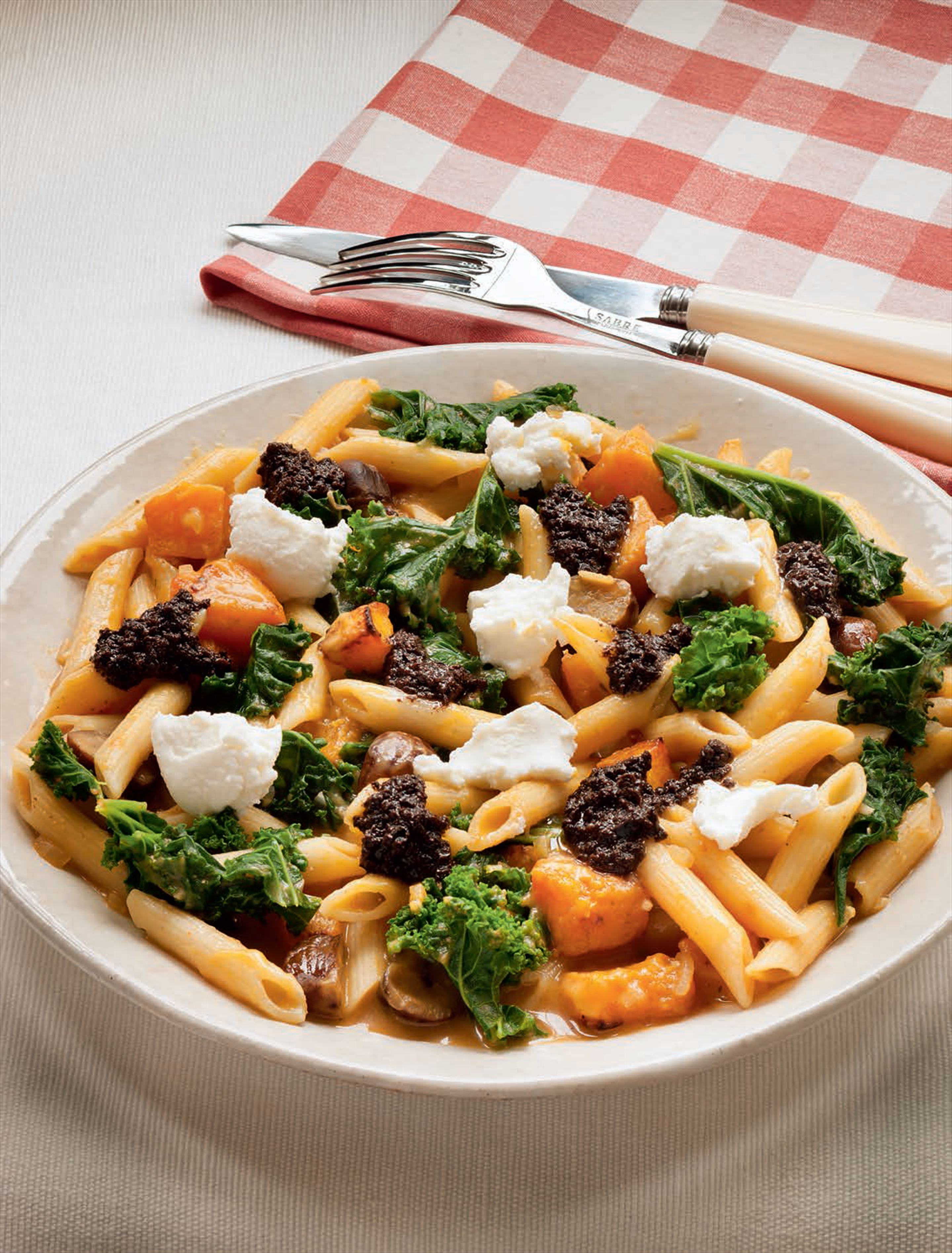 Roast chestnut, squash & kale penne with tapenade