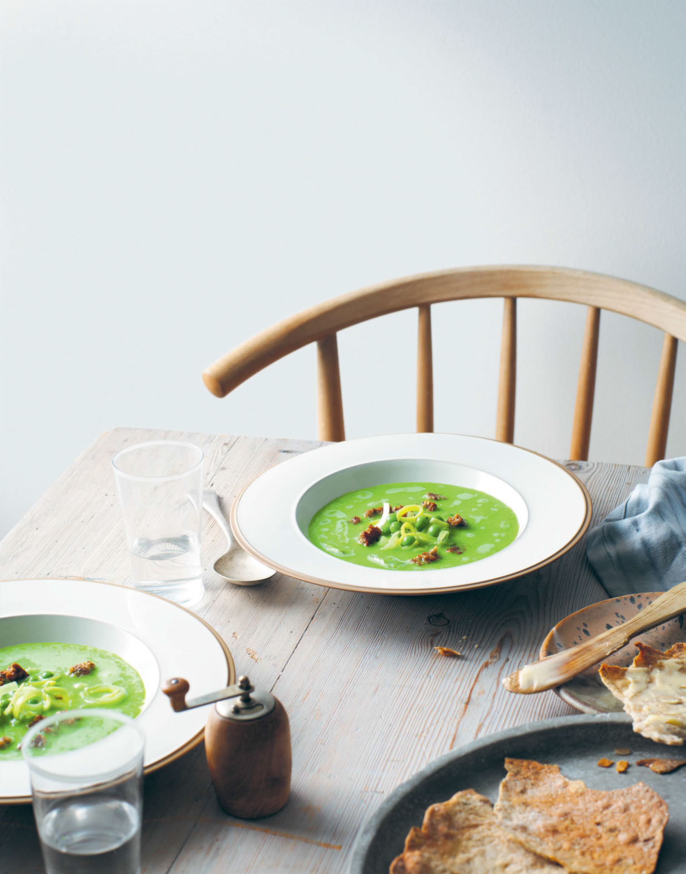 Chilled pea & dill soup with rye