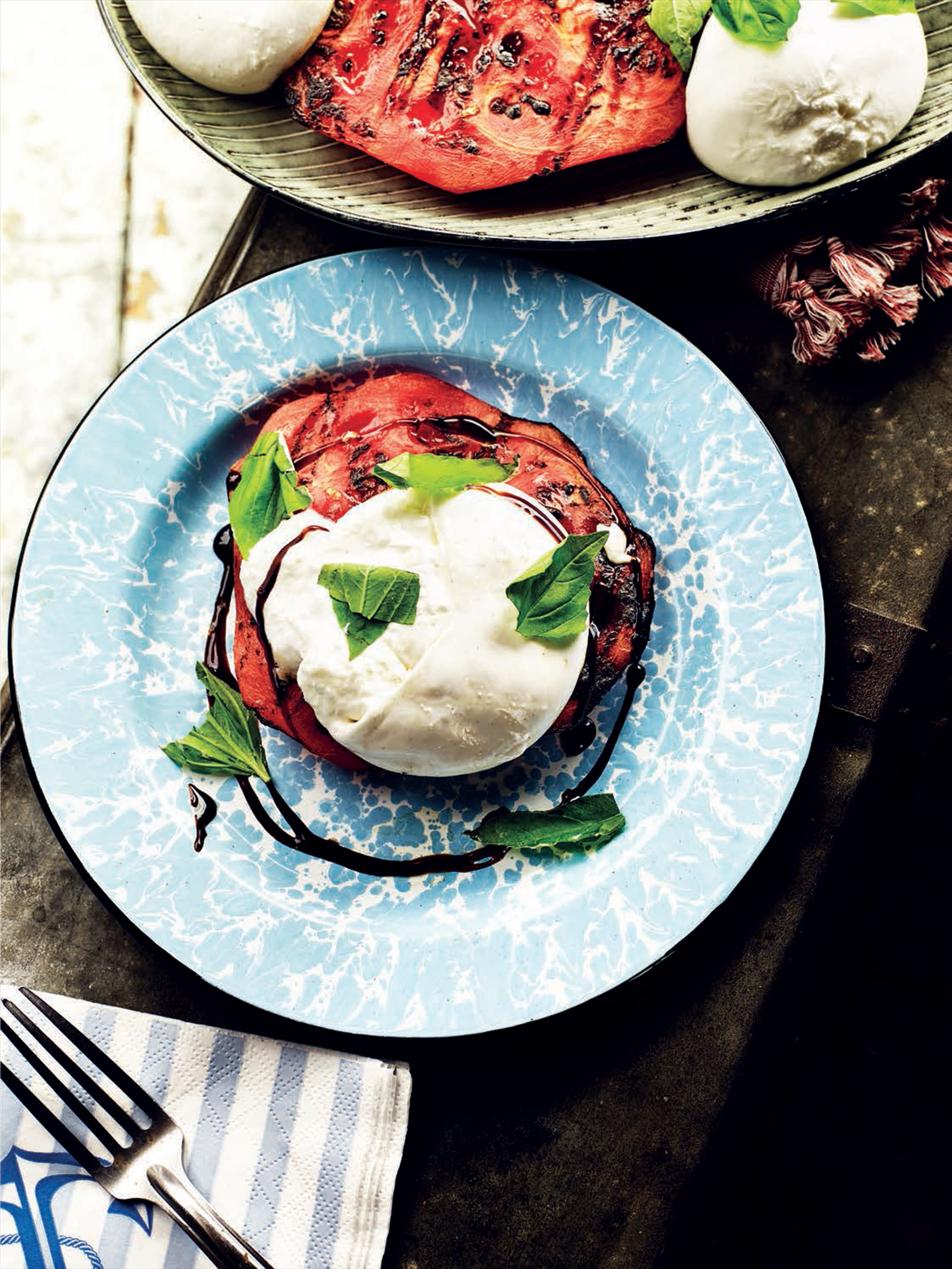 Smoky grilled watermelon with burrata, balsamic and basil