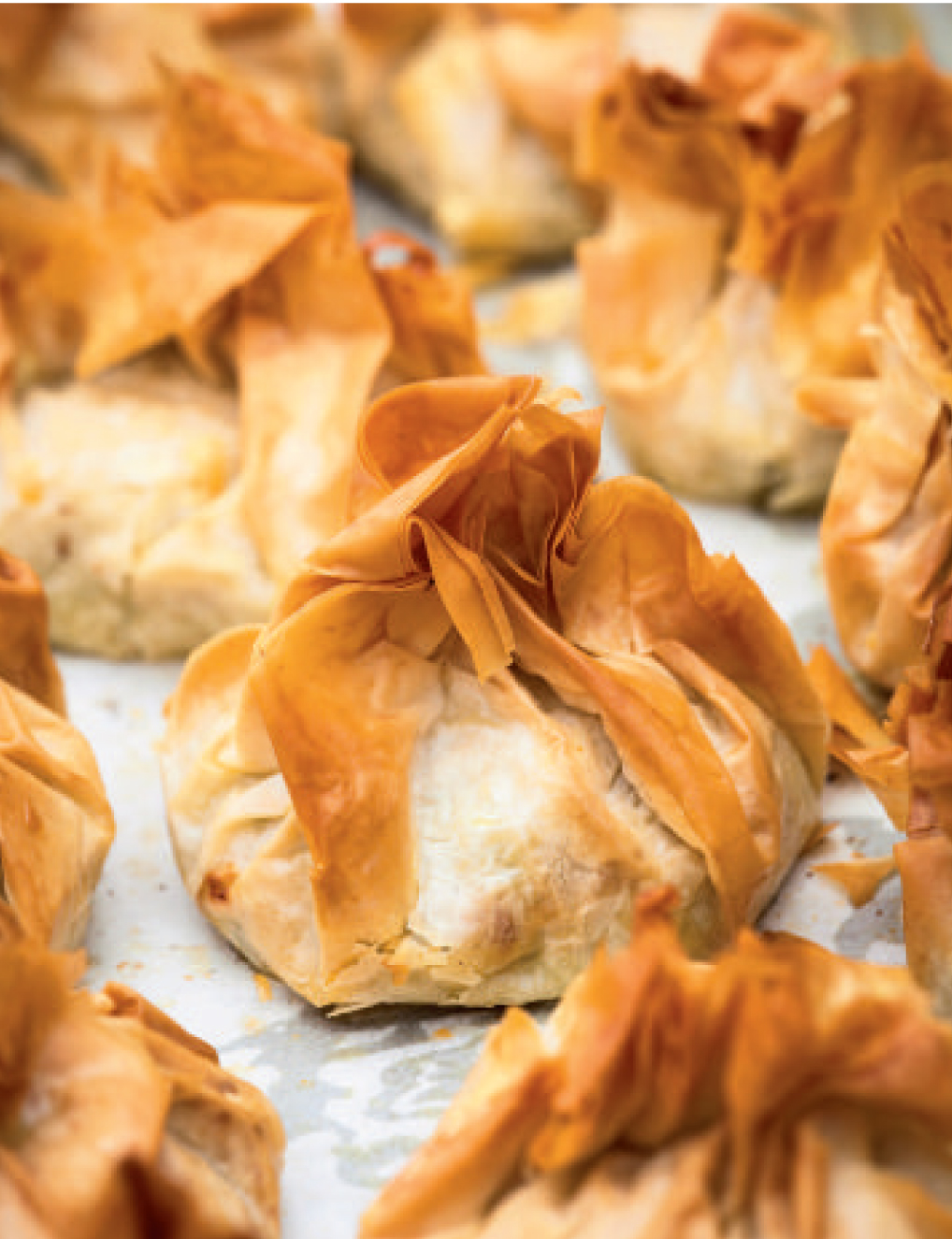 Squash, feta and walnut filo parcels