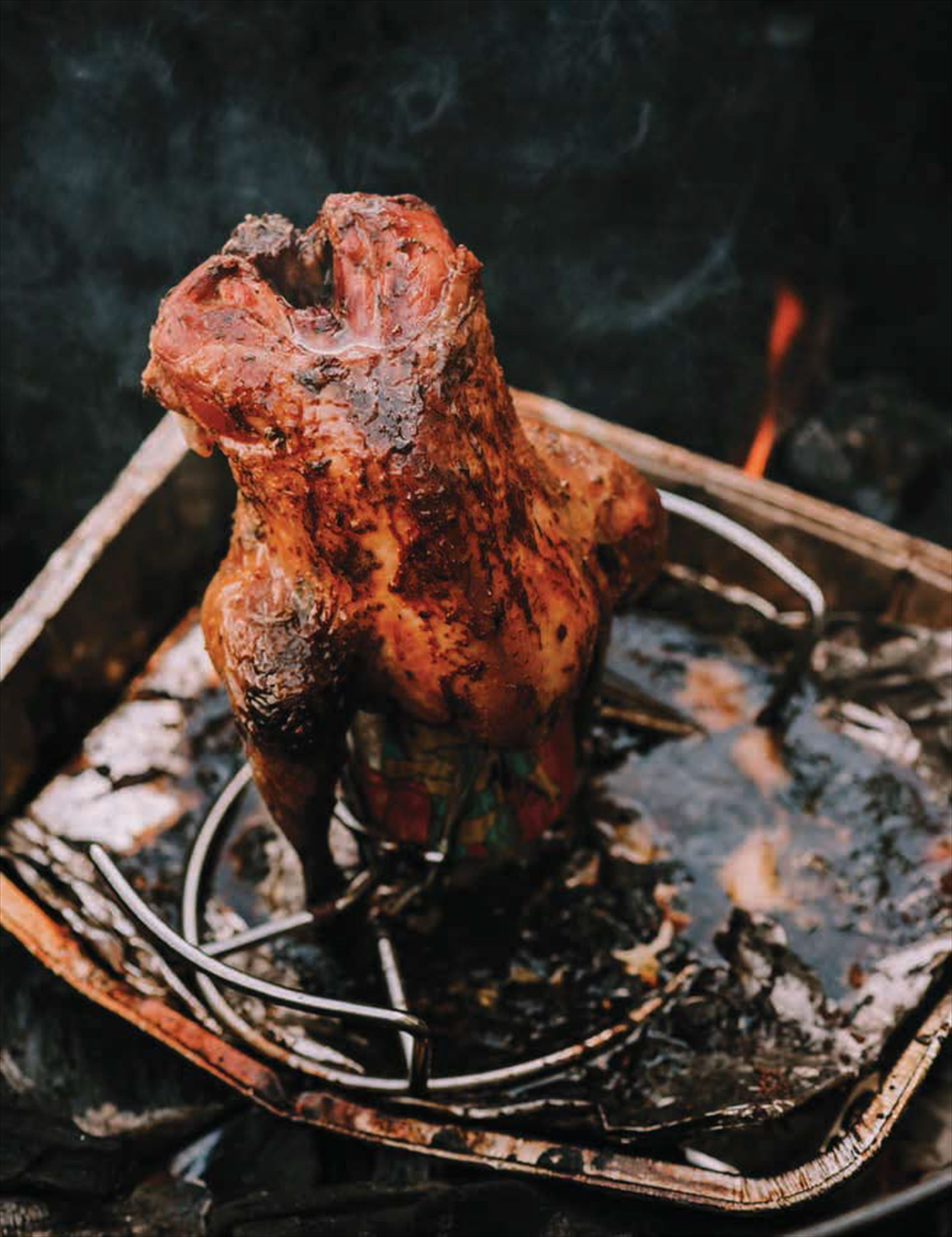 Barbecued beer-can pheasant