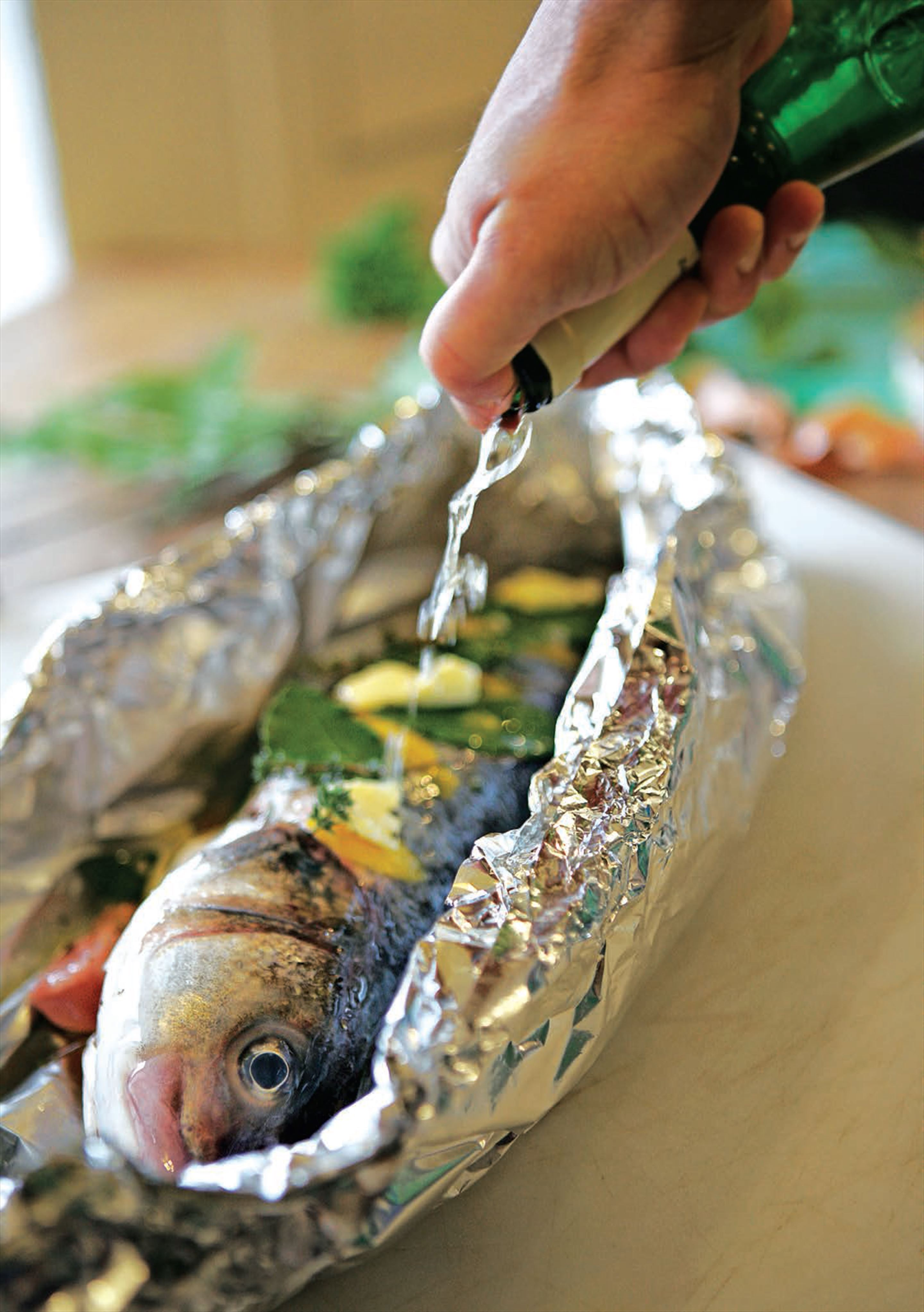 Whole fish baked in a foil parcel