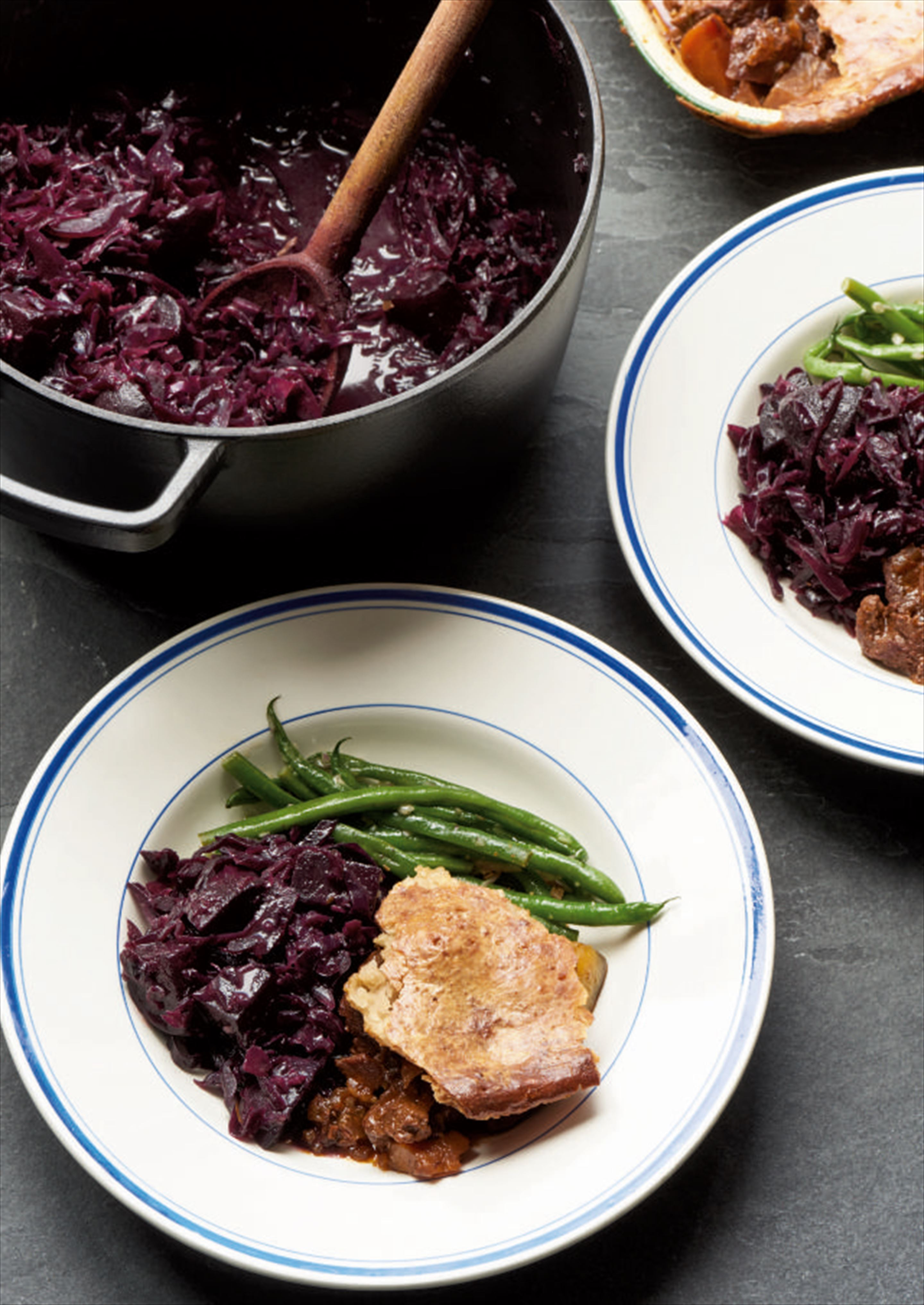 Braised red cabbage and beetroot