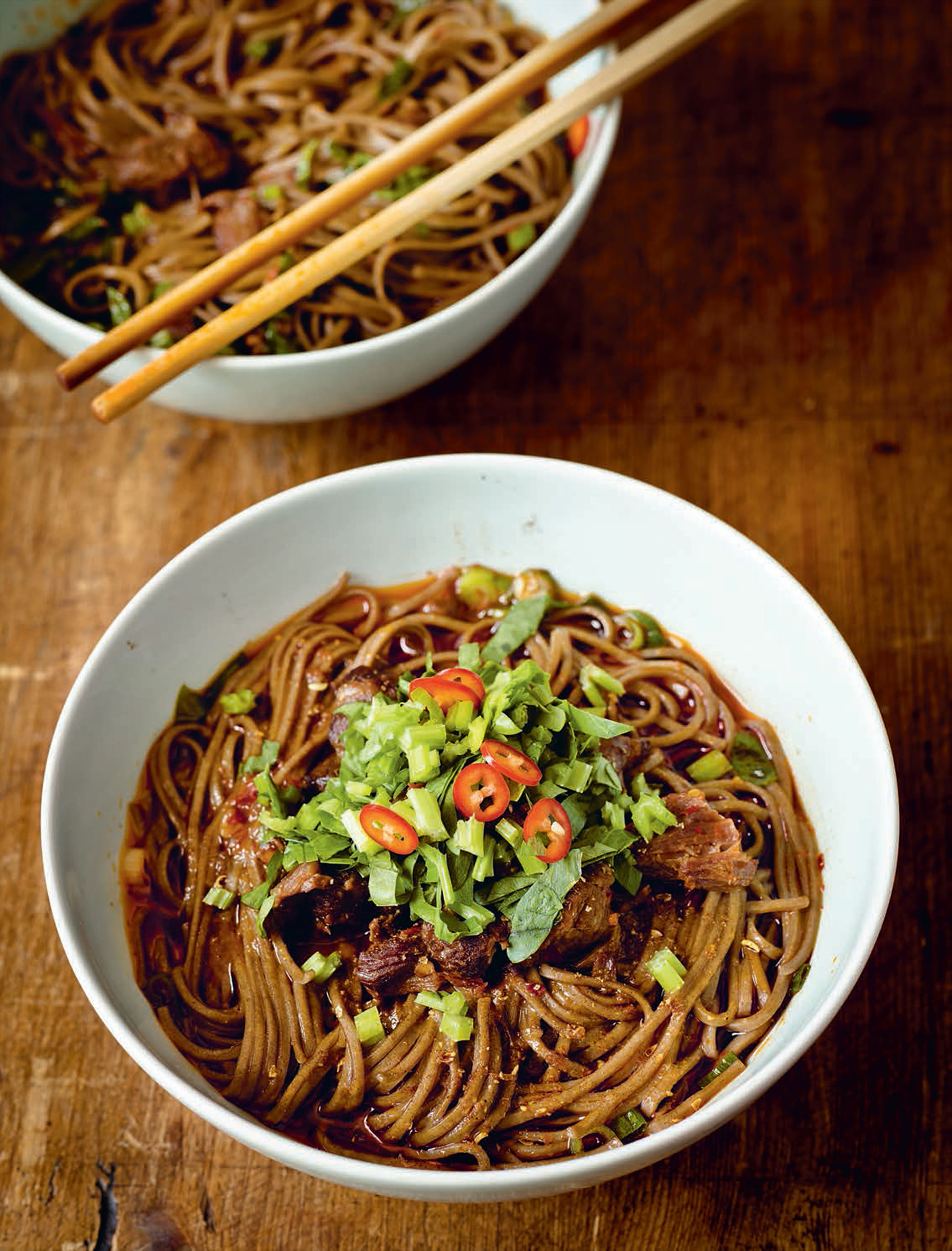 Buckwheat noodles with red-braised beef