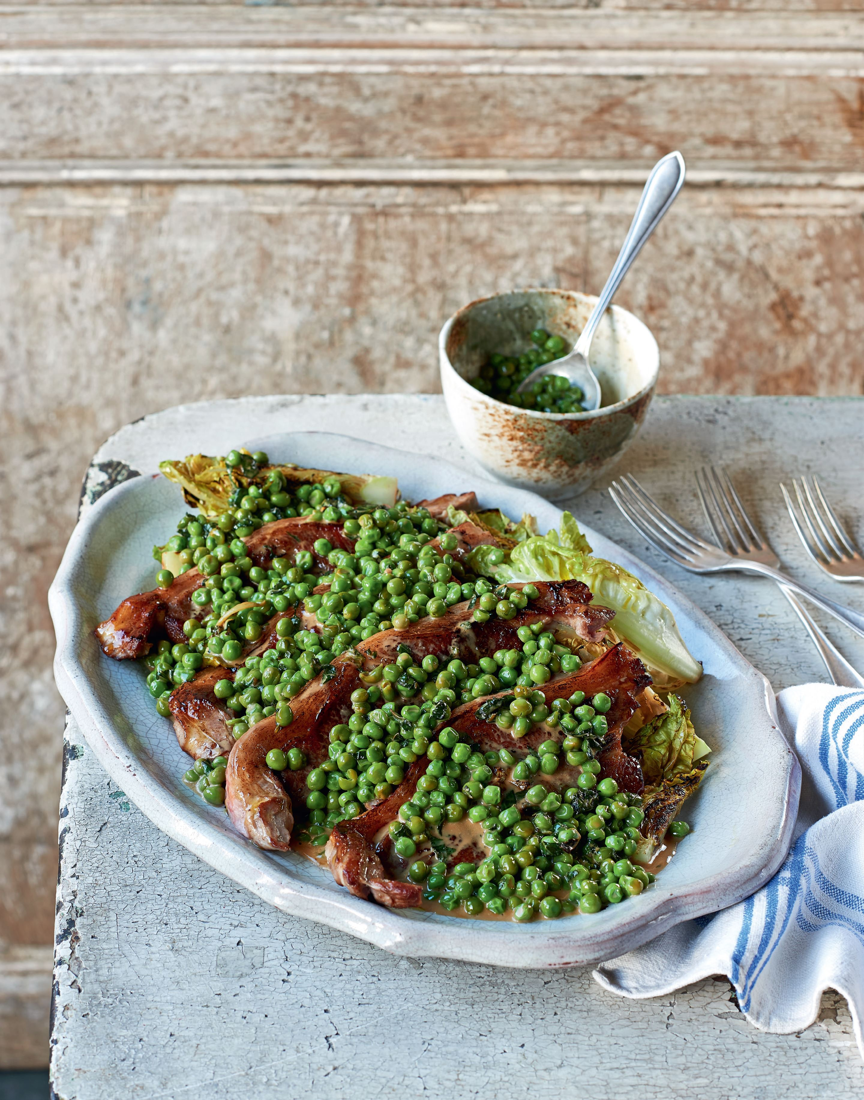 Lamb chops with seared little gem & peas
