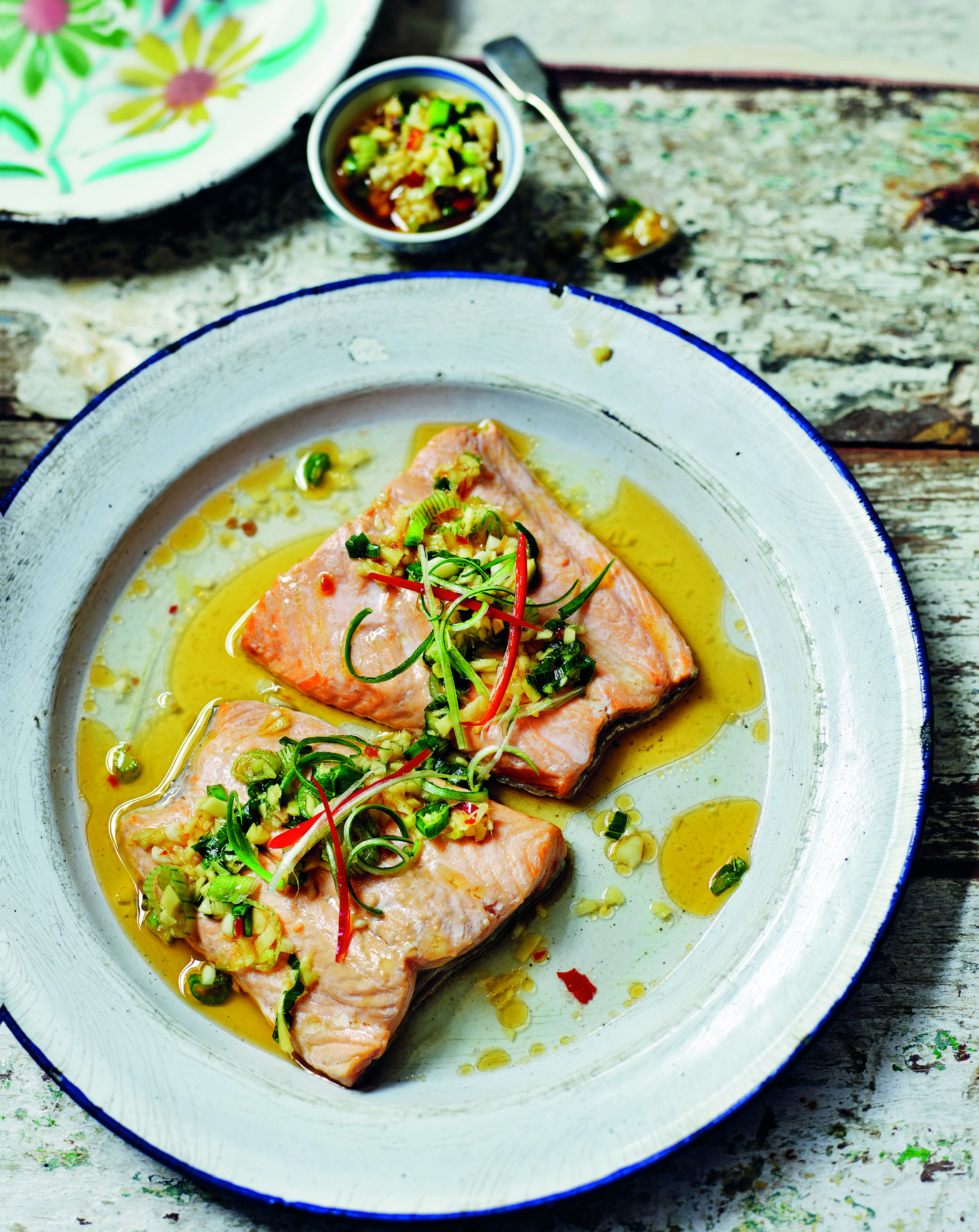 Steamed trout with chilli bean, garlic and ginger oil