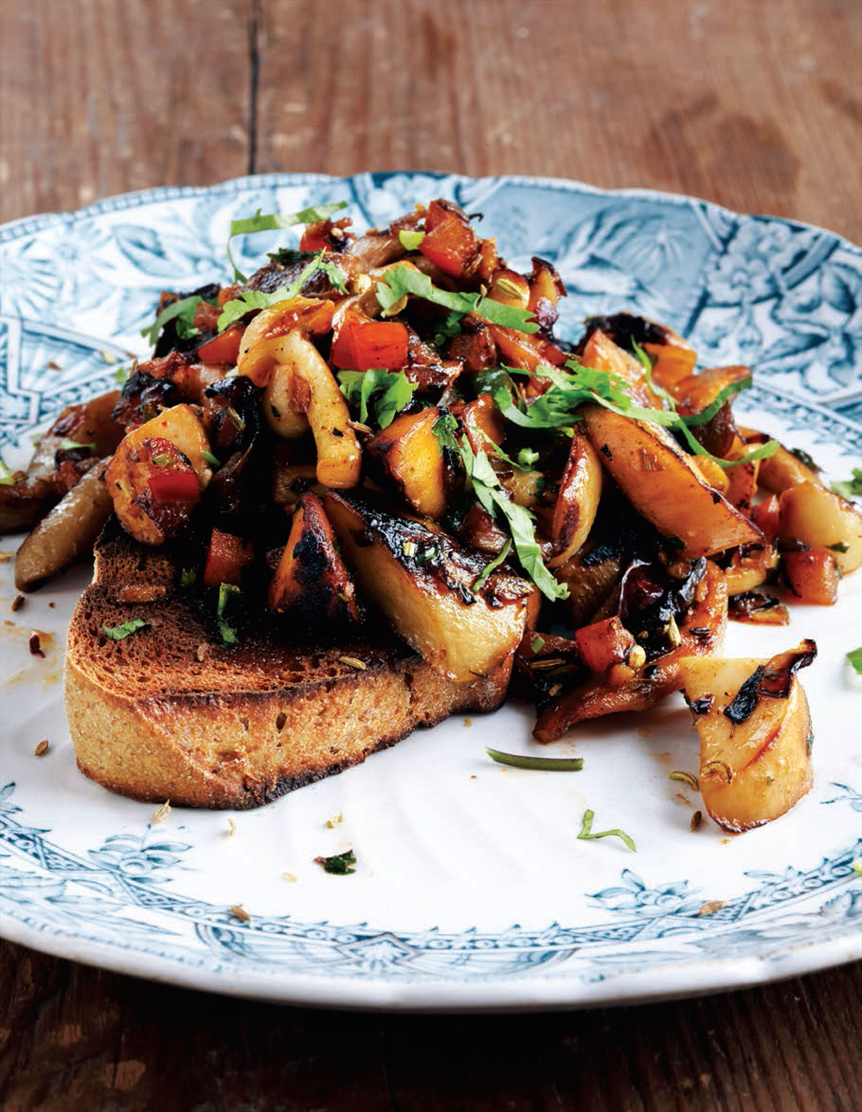 Kadhai-spiced mushrooms on toast