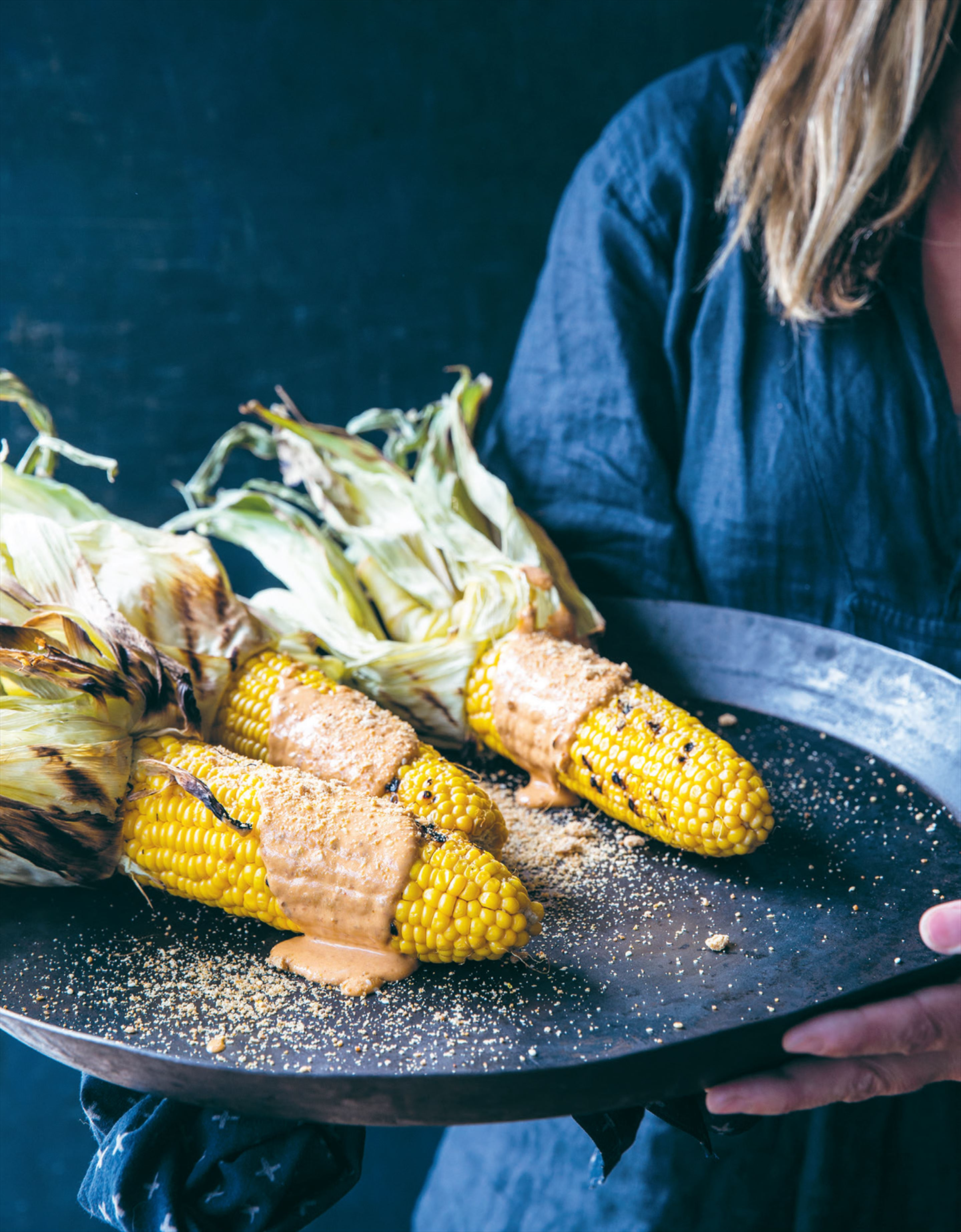 Chargrilled corn with chipotle crema & cheese dust