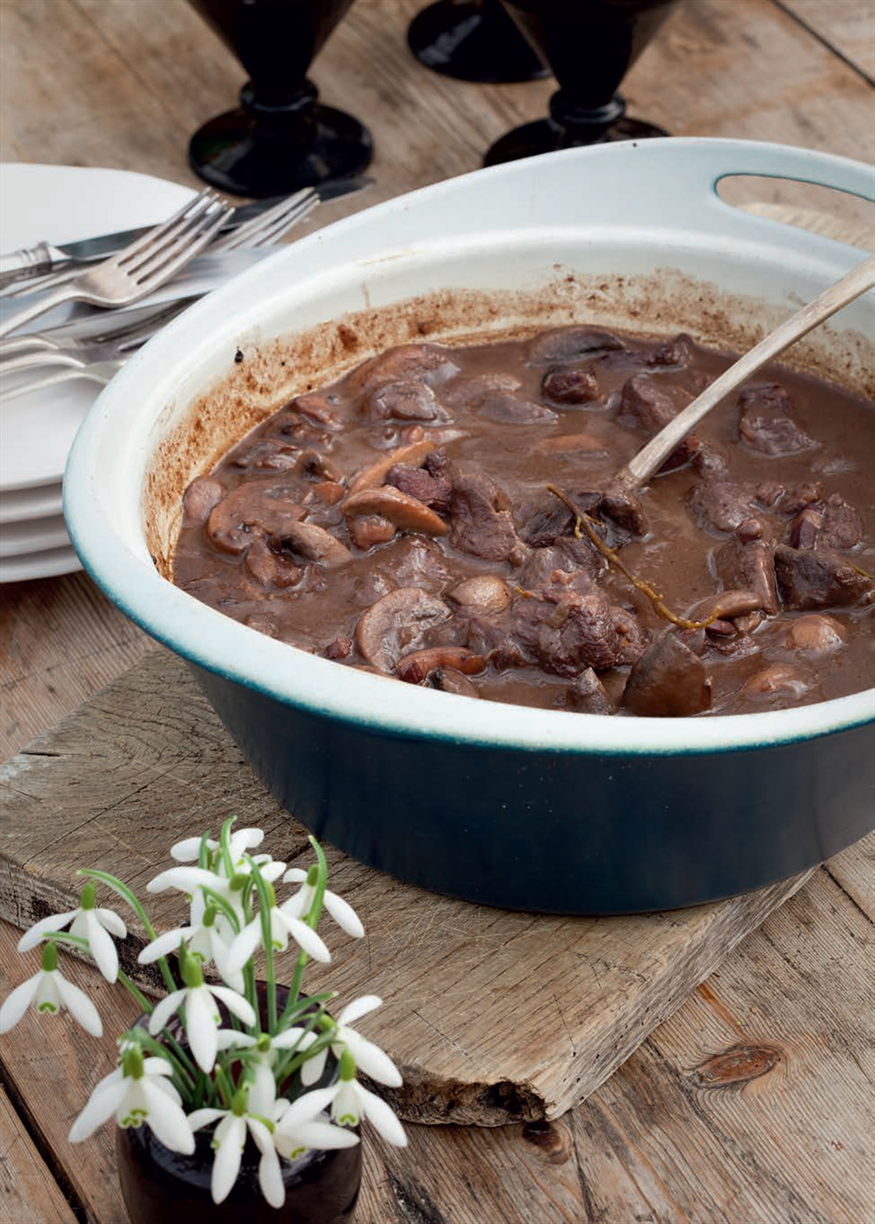 Jane's venison casserole with no-suet dumplings