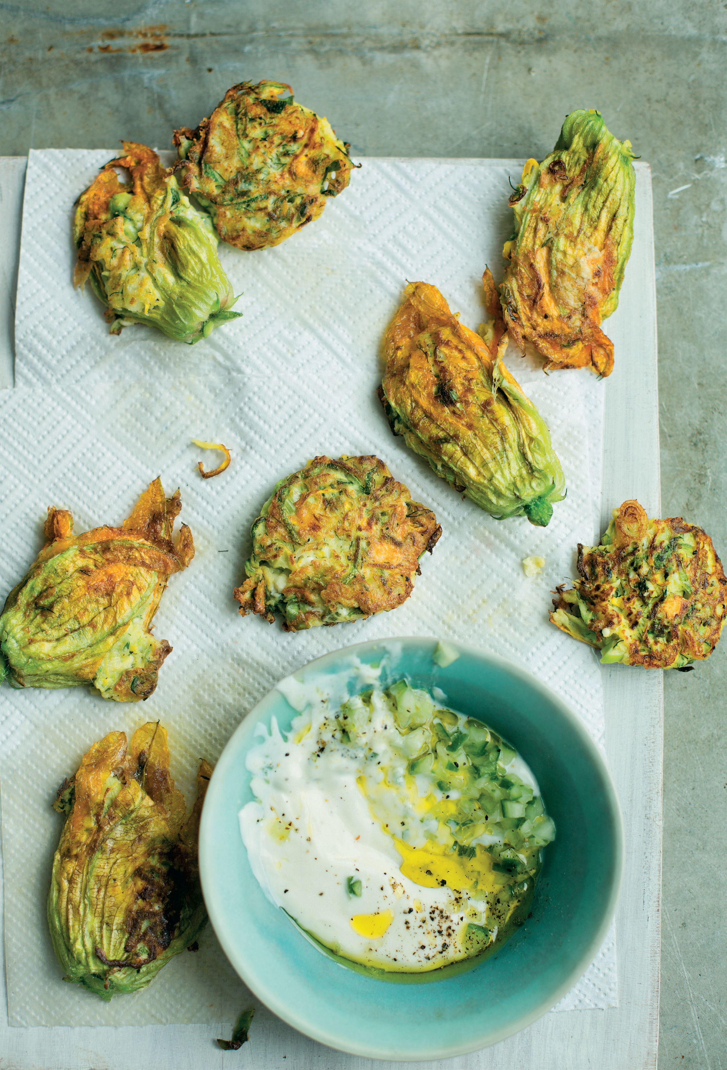 Courgette and feta fritters with yogurt
