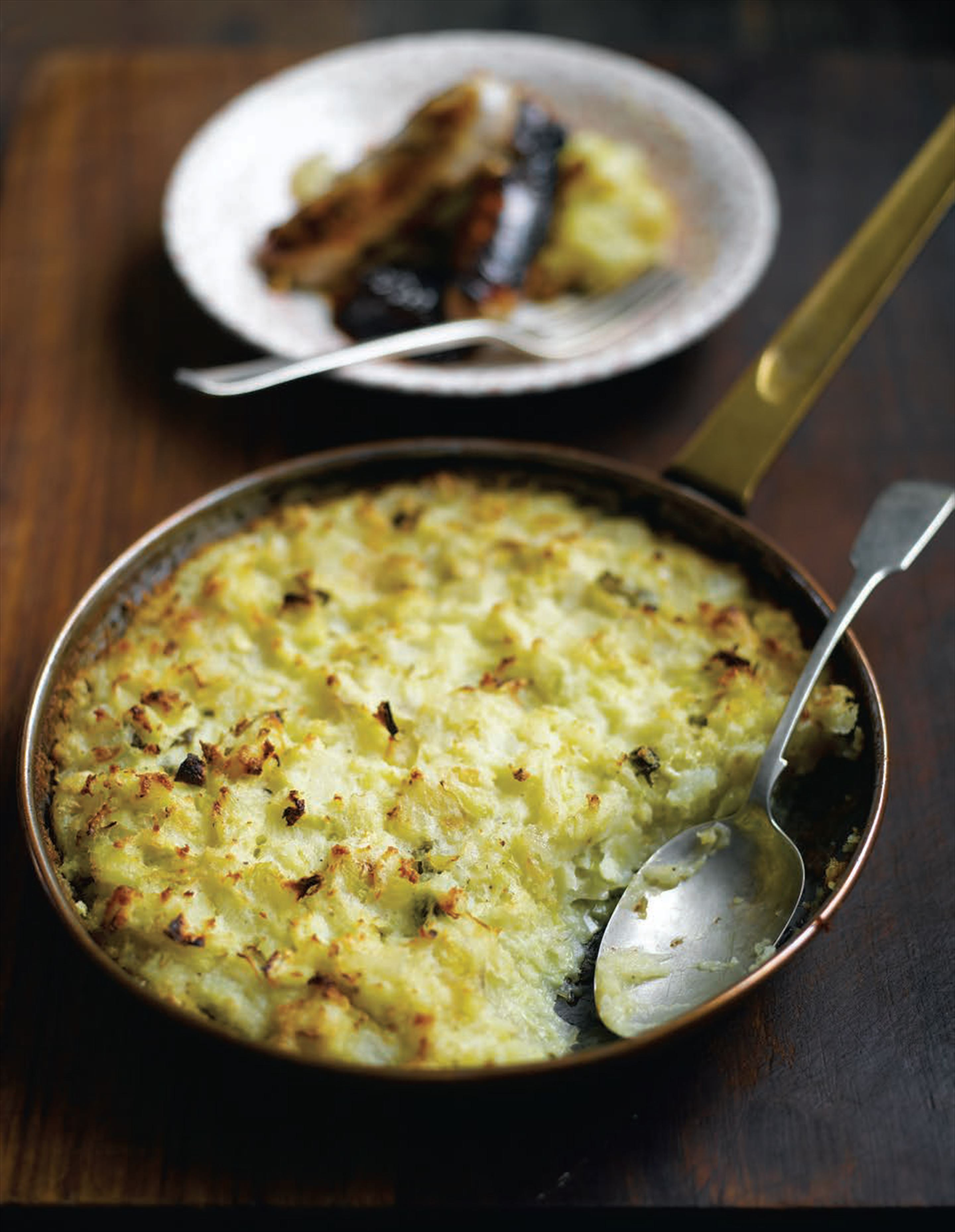 Brussels sprout gratinée with Stilton crust