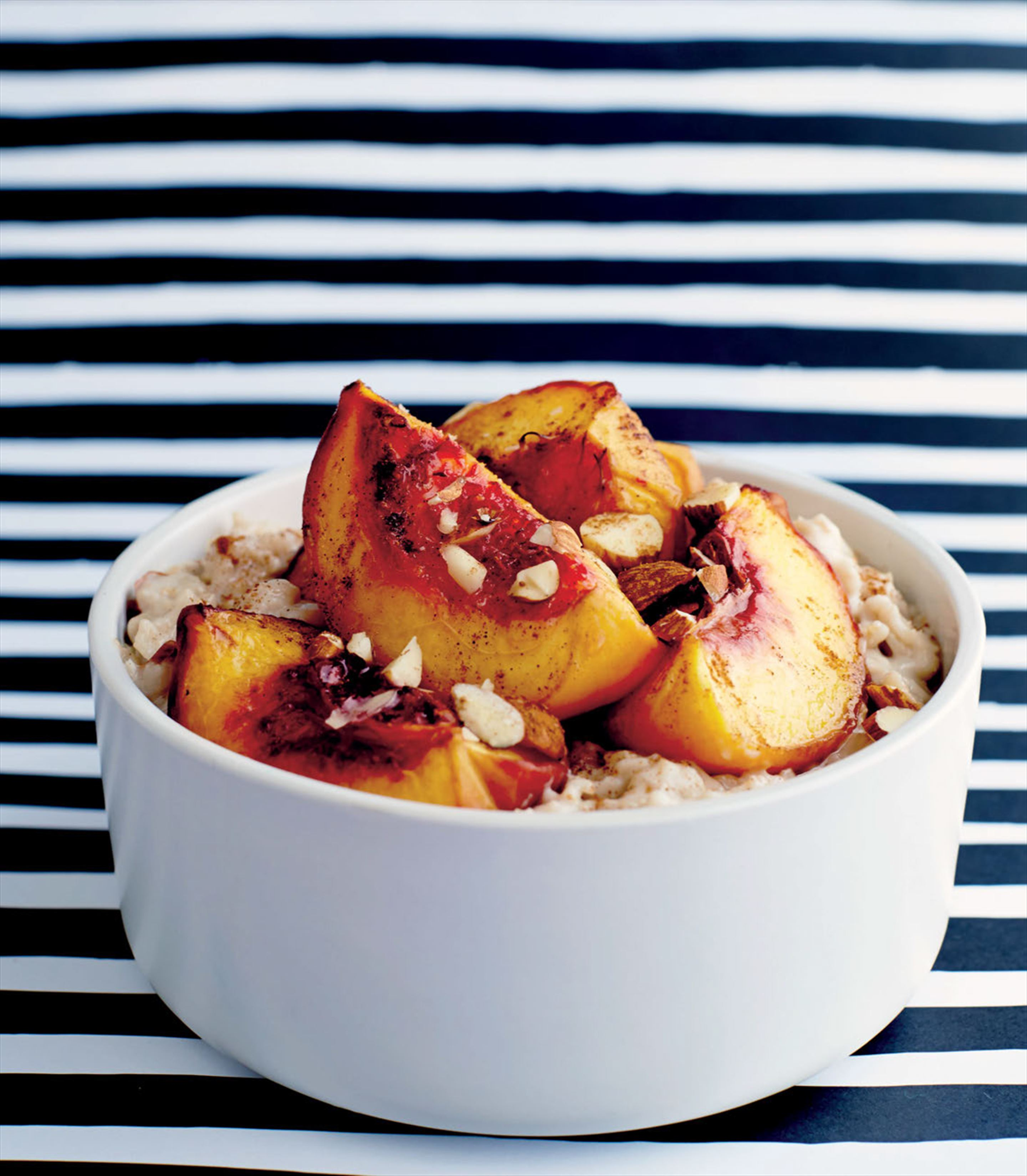 Almond oat porridge with roast peaches