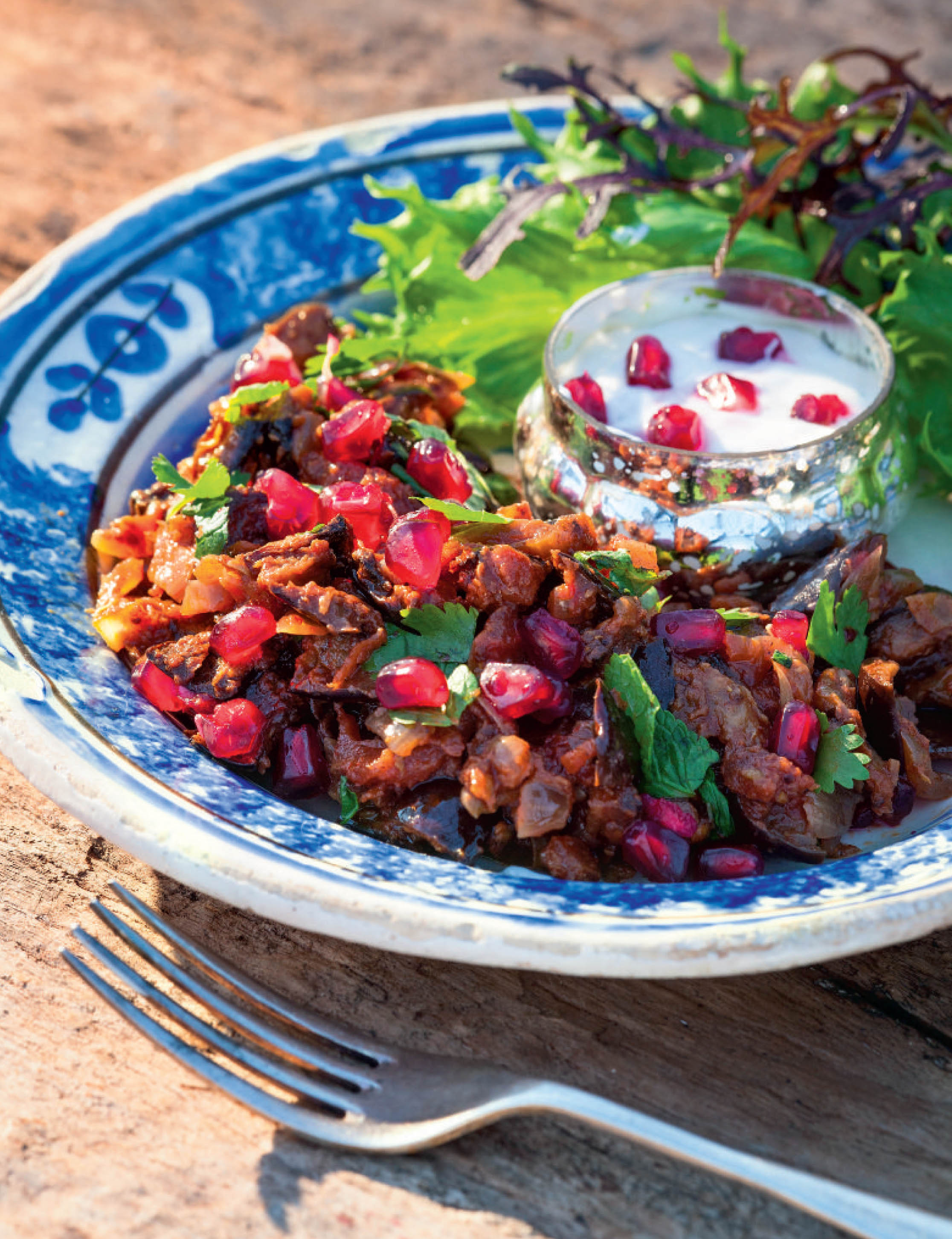 Spiced aubergine salad with pomegranate raita